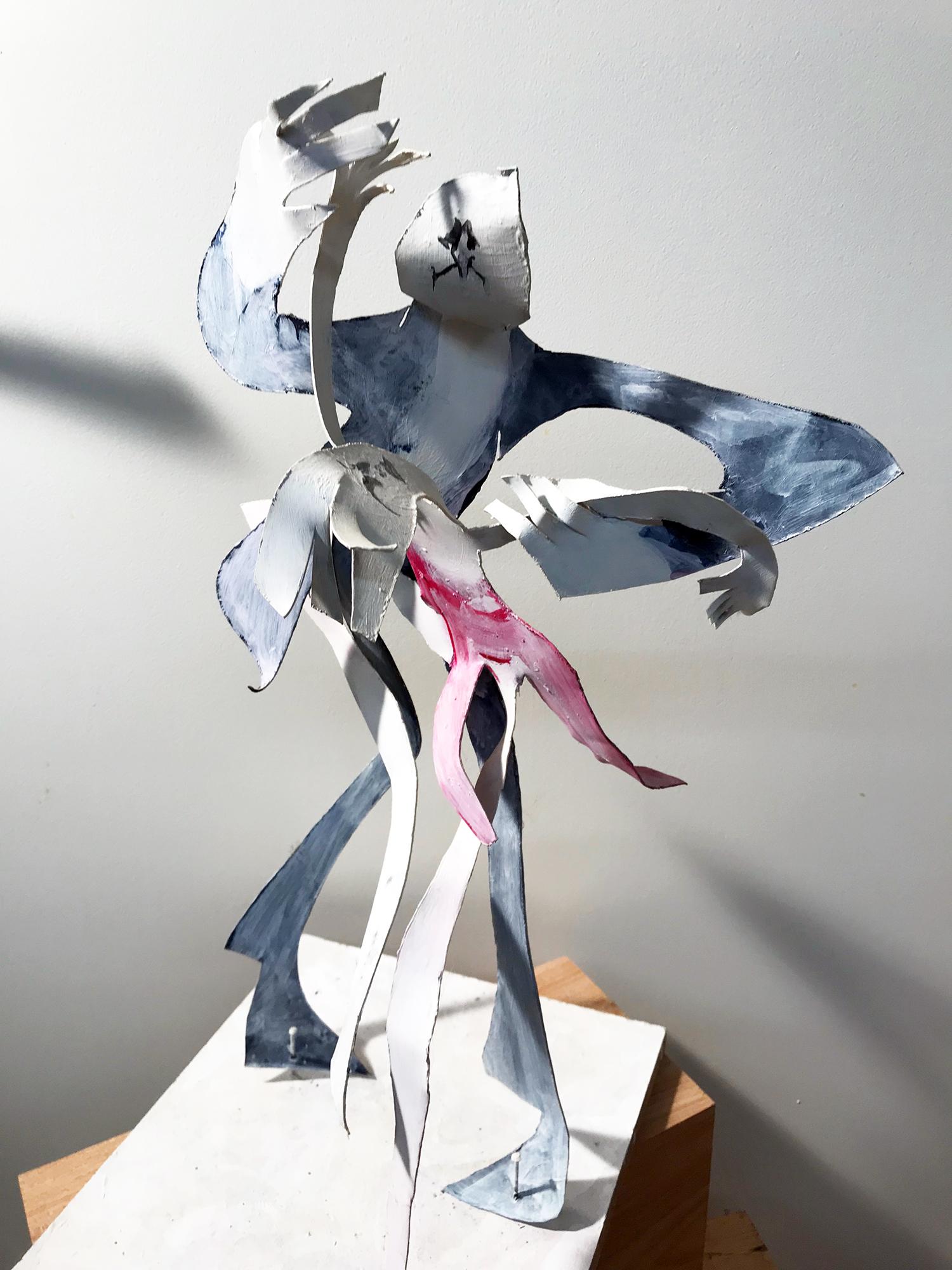 Tango, Karton auf Holz, Acryl, ca. 25 x 25 x 45 cm