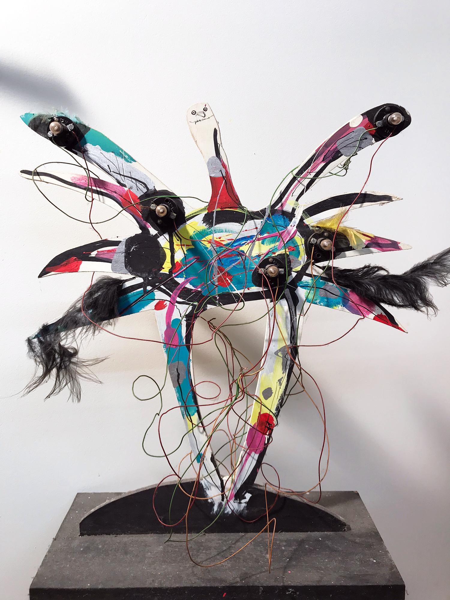 Vogel-Lampe, Holz, Lampen, Draht, ca. 38 x 18 x 45 cm