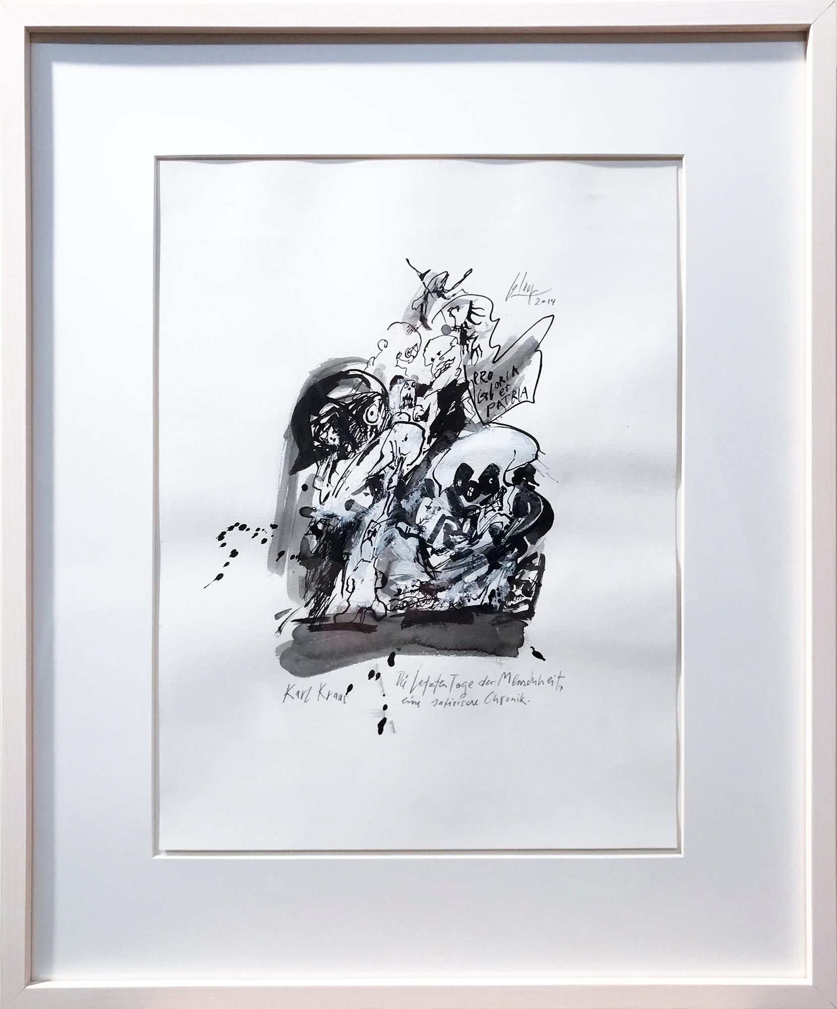 Karl Kraus, die letzten Tage der Menschheit, 2014, Mischtechnik auf Zeichenpapier, 30 x 40 cm, Holzrahmen, Rahmenmass 48 x 57 cm