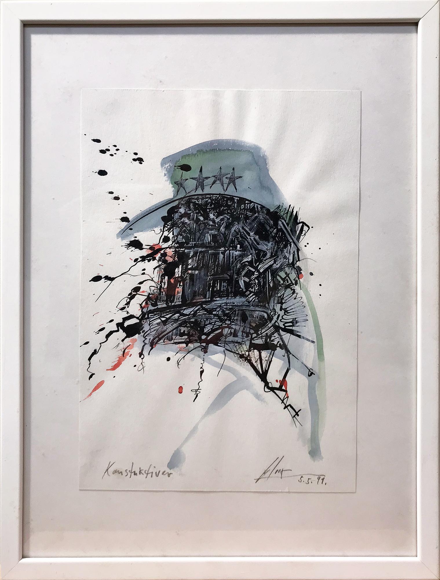 Konstruktiver, 1999, Mischtechnik auf Zeichenpapier, 21 x 30 cm, Holzrahmen, Rahmenmass 32 x 42 cm