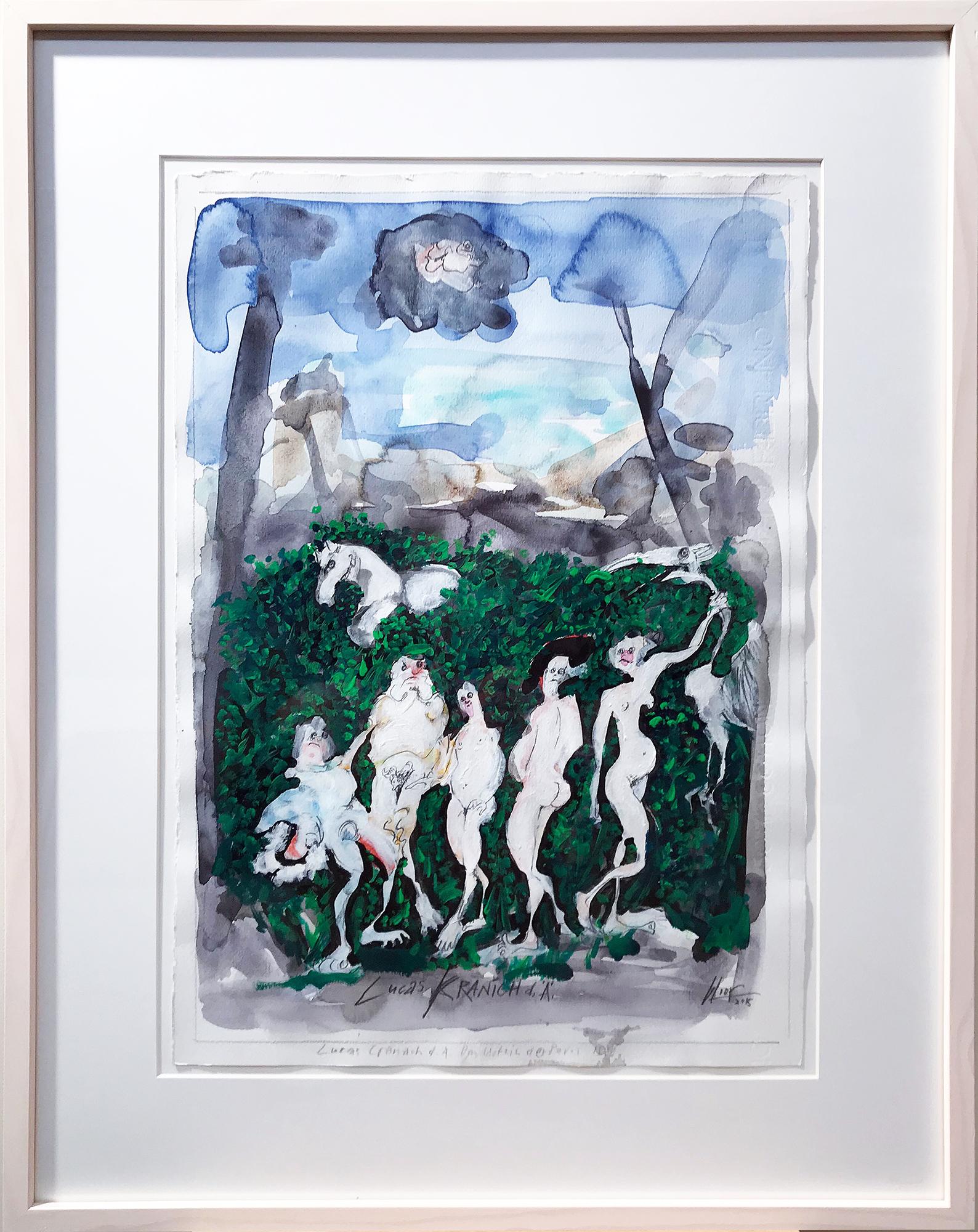 Lukas Kranach d.Ä., 2015, Mischtechnik auf Büttenpapier, 35 x 48 cm, Holzrahmen, Rahmenmass 53 x 68 cm