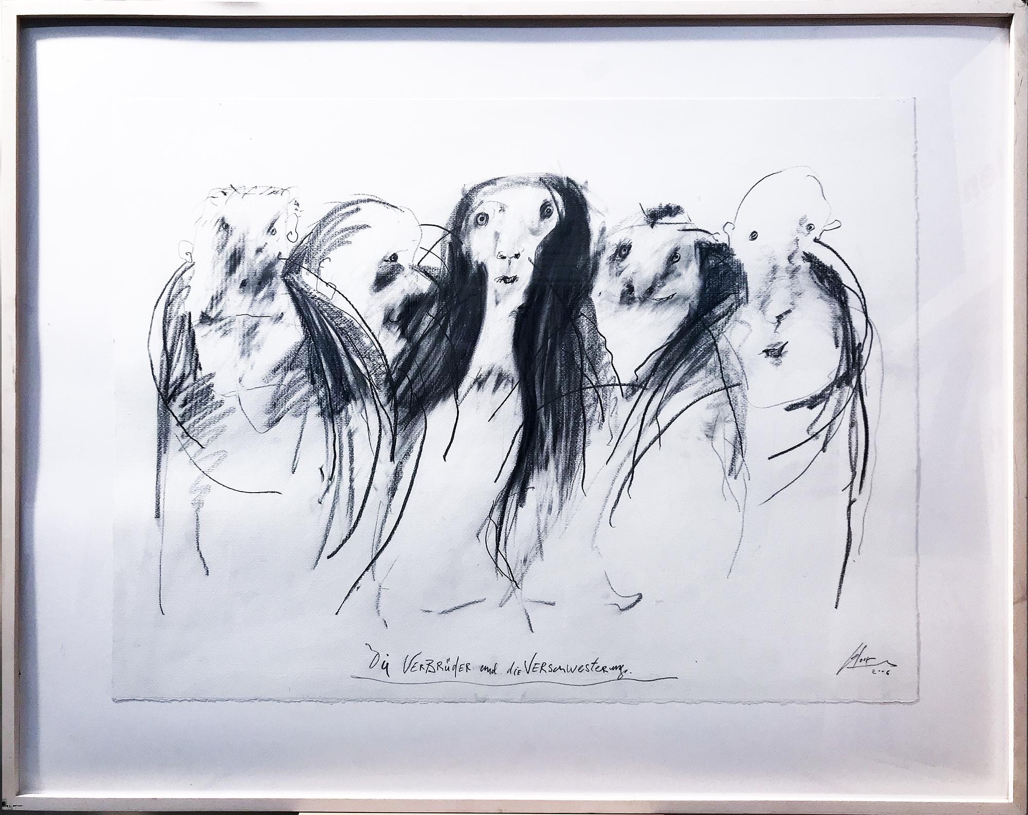 Die Verbrüderung und Verschwisterung, 2003, Mischtechnik auf Zeichenpapier, 77 x 58 cm, Holzrahmen, Rahmenmass 97 x 77 cm