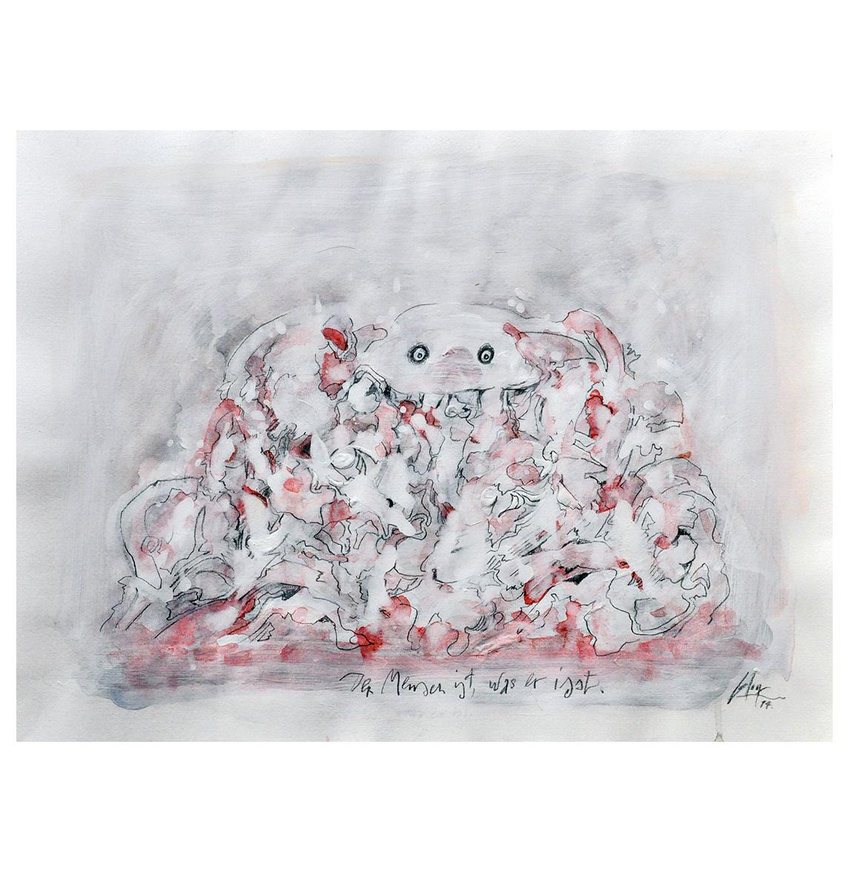 Der Mensch ist was er isst, 2014, Mischtechnik auf Zeichenpapier, 70 x 50 cm, ohne Rahmen