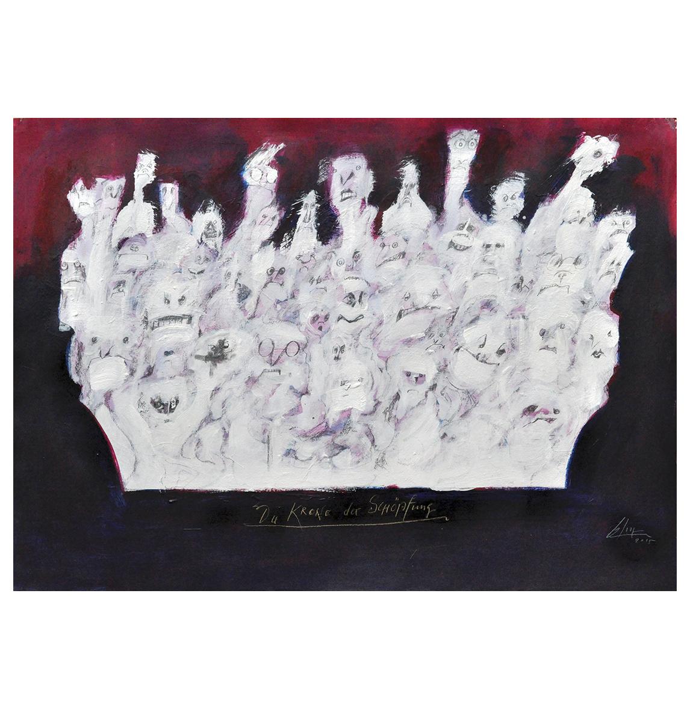 Die Krone der Schöpfung, 2015, Mischtechnik auf Zeichenpapier, 70 x 50 cm, ohne Rahmen