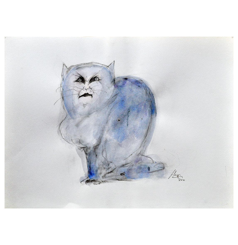 Katze 3, 2010, Mischtechnik auf Papier, 40 x 30 cm, Holzrahmen, Rahmenmass 57 x 47 cm