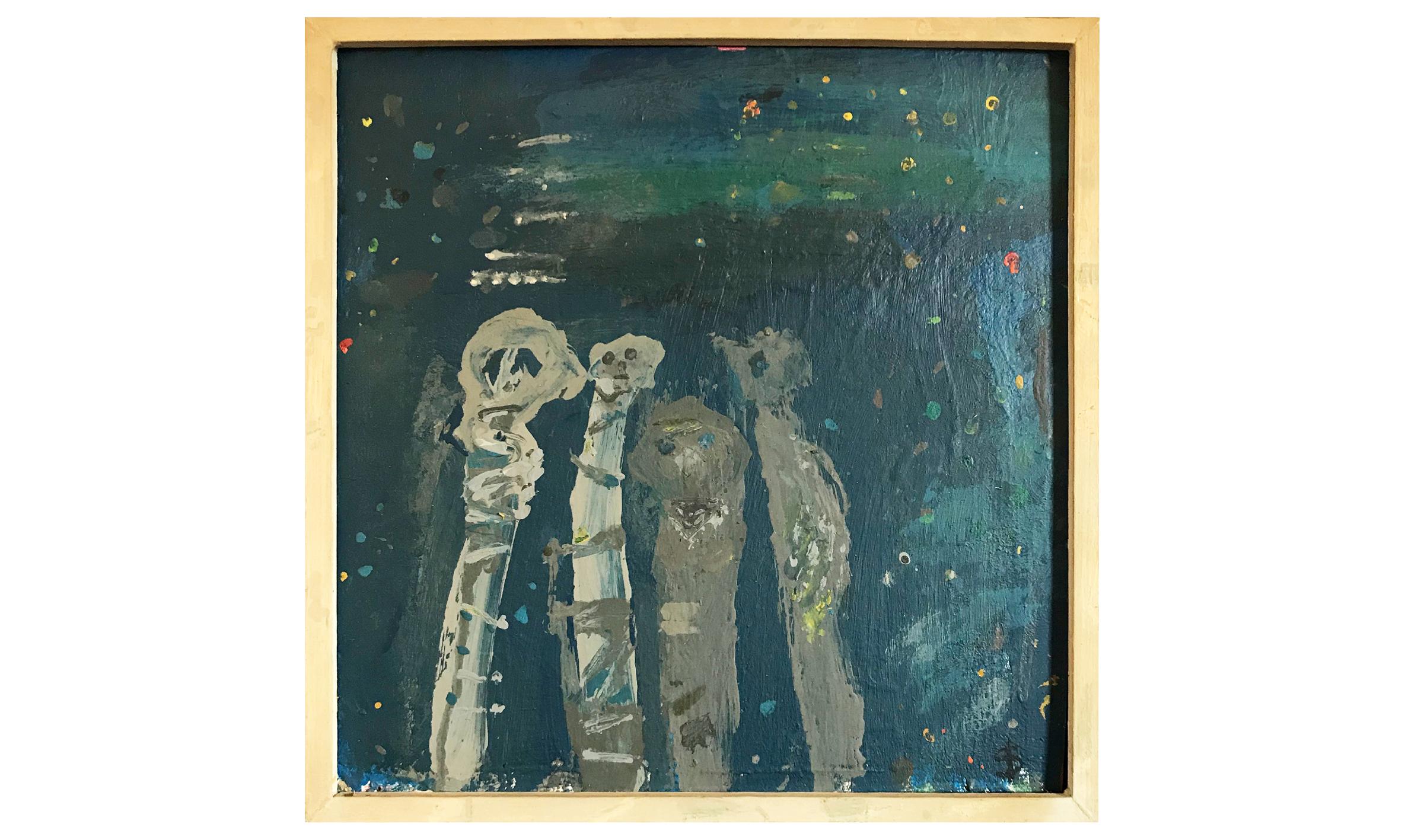 Ohne Titel, 1984, 24 x 24 cm, Dispersion auf Karton, Gerahmt Holzrahmen, CHF 580.–