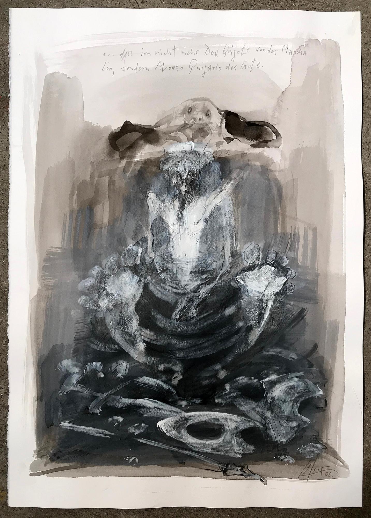 Don Quichot, Alonso Quijano, 2006, Mischtechnik auf Büttenpapier, 36 x 49 cm, ohne Rahmen