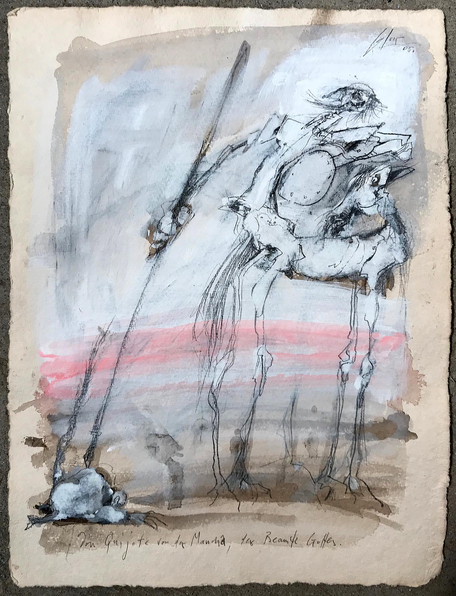 Don Quichot, der Beamte Gottes, 2005, Mischtechnik auf Büttenpapier, 28 x 38 cm, ohne Rahmen