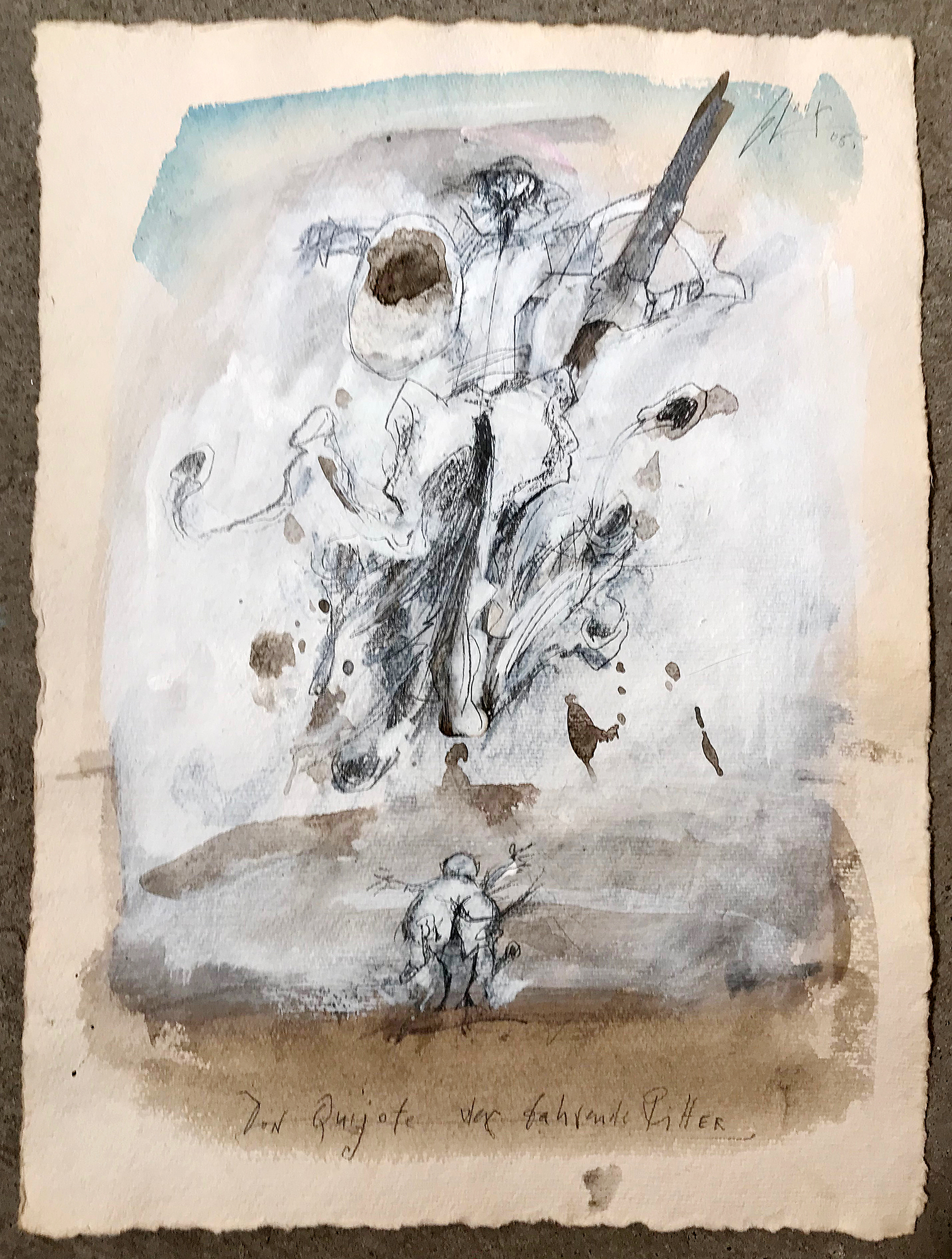 Don Quichot, der fahrende Ritter, 2005, Mischtechnik auf Büttenpapier, 28 x 38 cm, ohne Rahmen