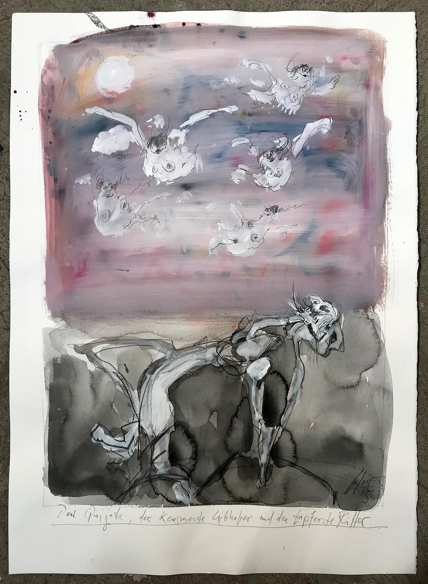 Don Quichot, der keuscheste Liebhaber, 2005, Mischtechnik auf Büttenpapier, 36 x 49 cm, ohne Rahmen
