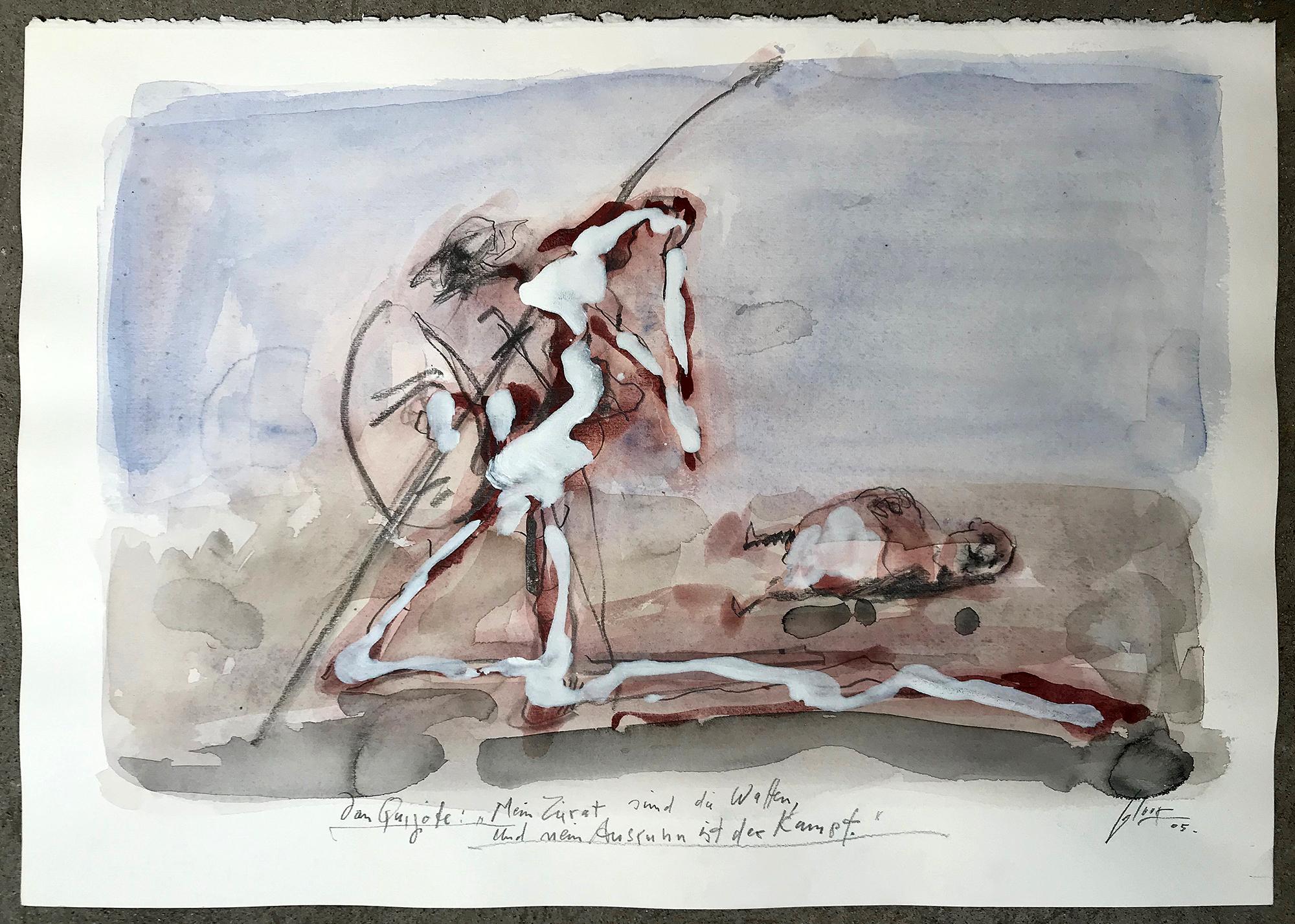 Don Quichot, Mein Zierrat sind die Waffen, 2006, Mischtechnik auf Büttenpapier, 50 x 36 cm, ohne Rahmen