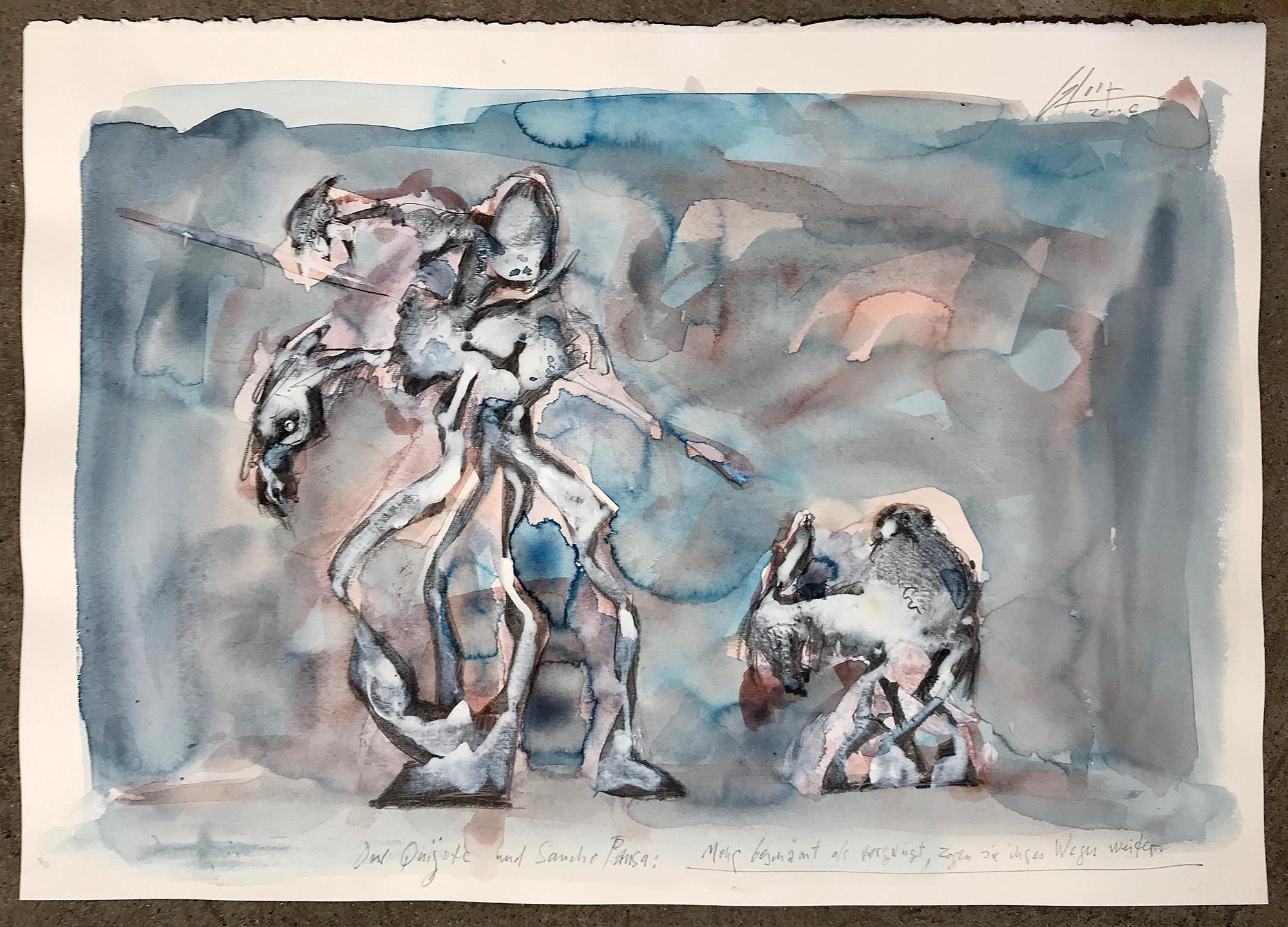 Don Quichot, Sancho Pansa, 2006, Mischtechnik auf Büttenpapier, 50 x 36 cm, ohne Rahmen