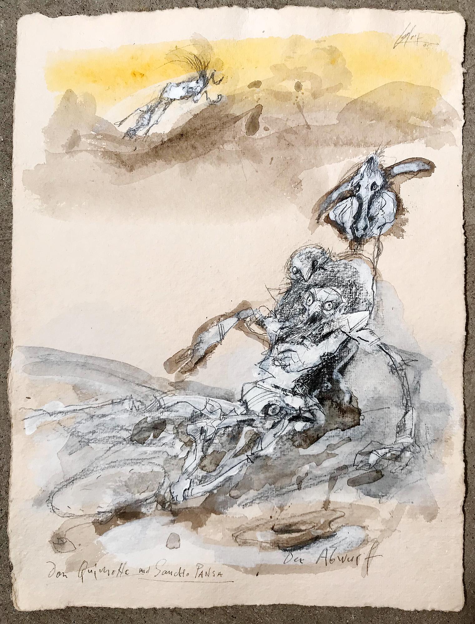 Don Quichot, Der Abwurf, 2005, Mischtechnik auf Büttenpapier, 28 x 36 cm, ohne Rahmen