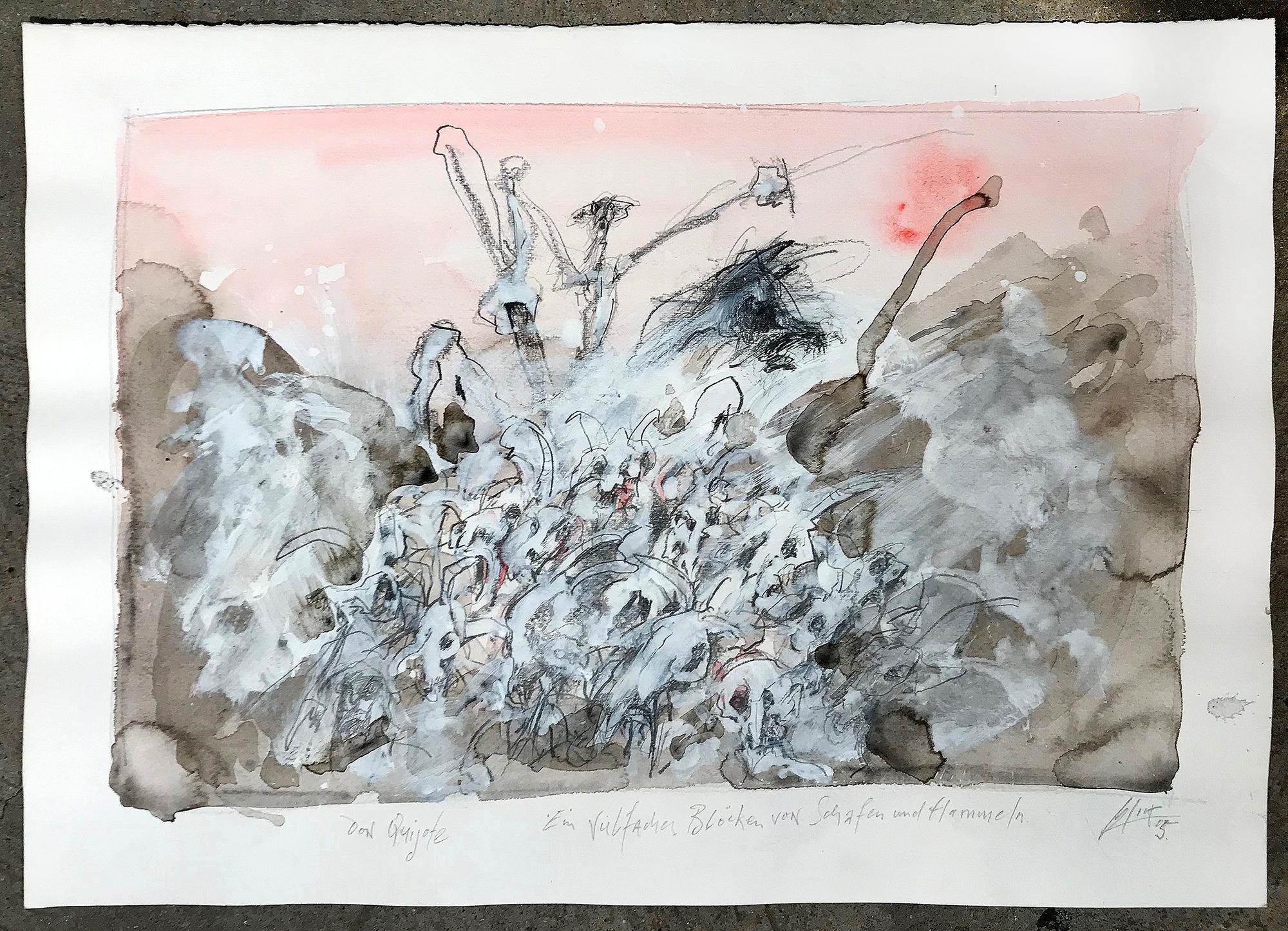 Don Quichot, Ein vielfaches Blöken von Schafen und Hammeln, 2006, Mischtechnik auf Büttenpapier, 50 x 36 cm, ohne Rahmen