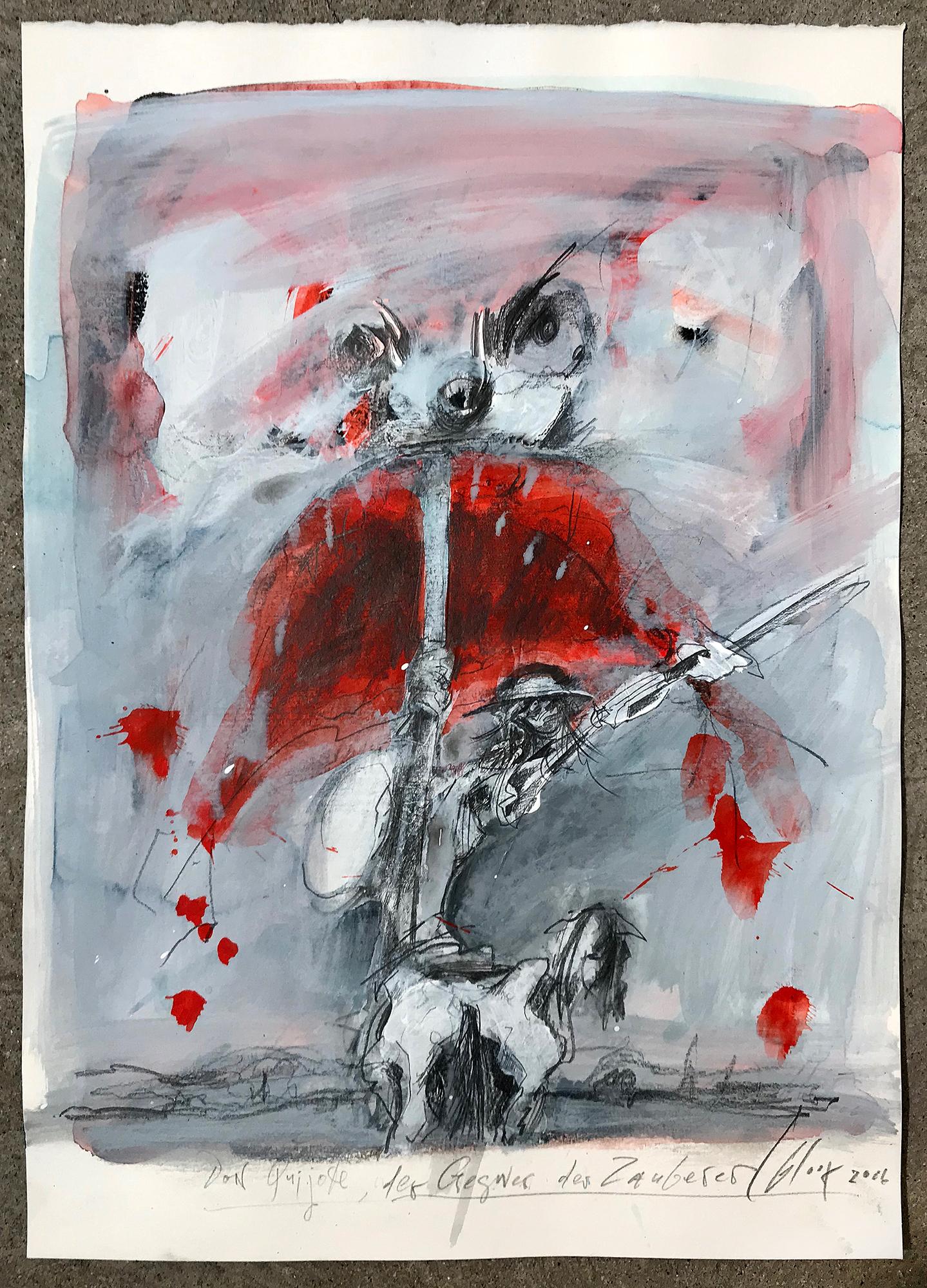 Don Quichot, der Gegner des Zauberers, 2006, Mischtechnik auf Büttenpapier, 25 x 36 cm, ohne Rahmen