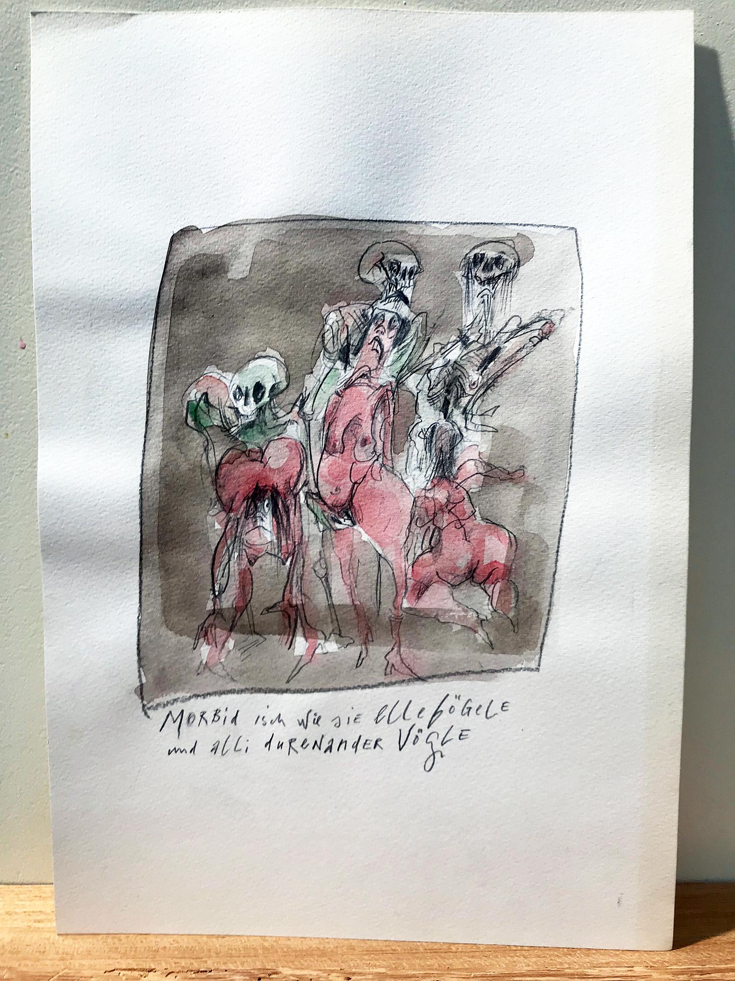 Basler Totentanz, 2015, Mischtechnik auf Büttenpapier, 17 x 24 cm, ohne Rahmen