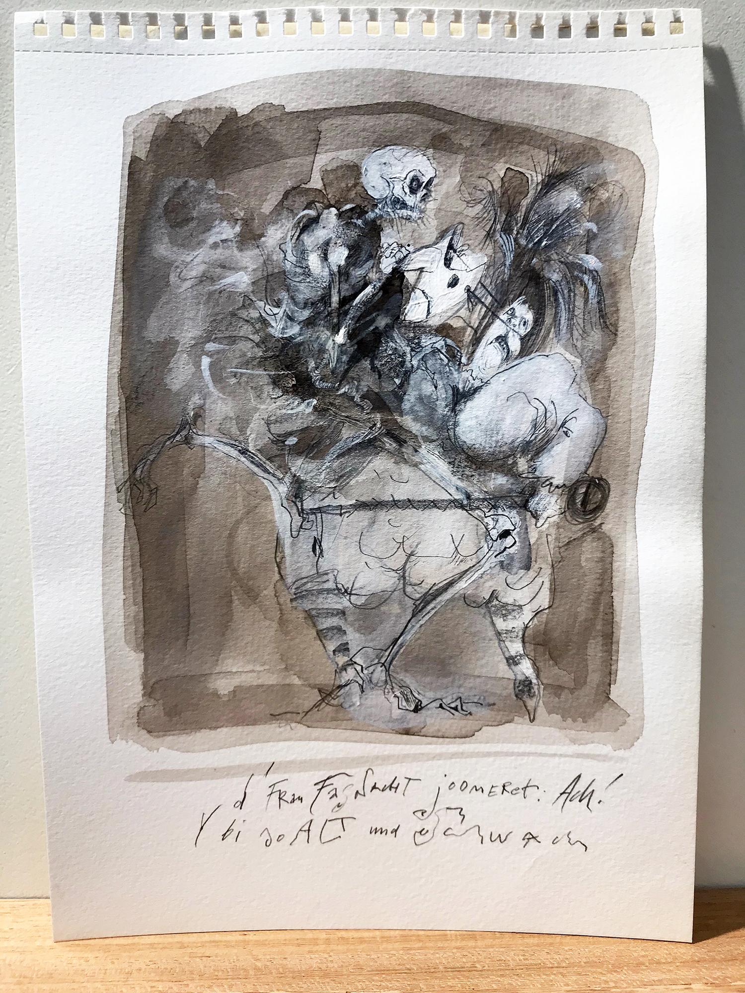 Basler Totentanz, 2015, Mischtechnik auf Büttenpapier, 20 x 28 cm, ohne Rahmen
