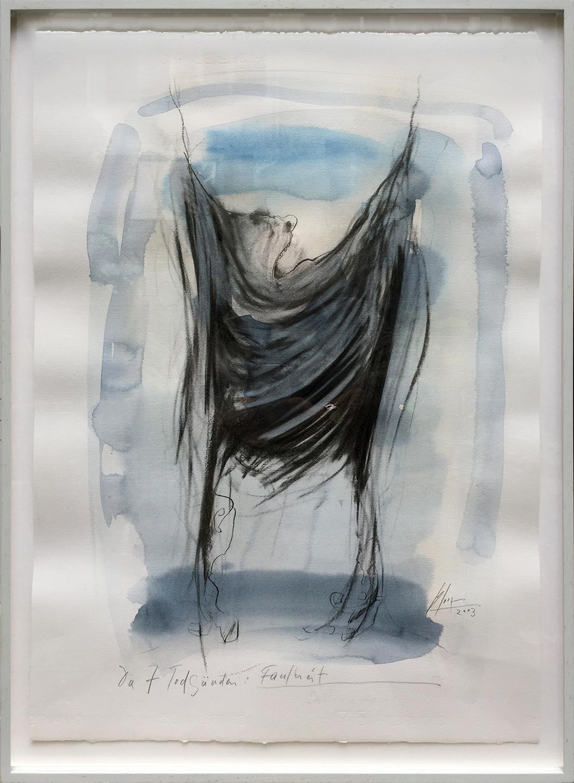 Die 7 Todsünden / Faulheit, 2003, Mischtechnik auf Büttenpapier, ca. 50 x 70, Holzrahmen, Rahmenmass 56 x 78 cm