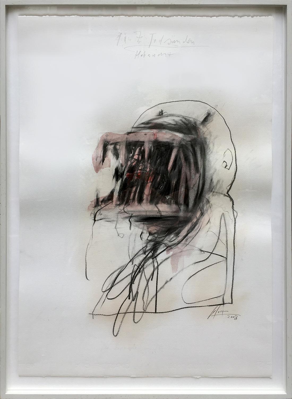 Die 7 Todsünden / Habsucht, 2003, Mischtechnik auf Büttenpapier, ca. 50 x 70, Holzrahmen, Rahmenmass 56 x 78 cm