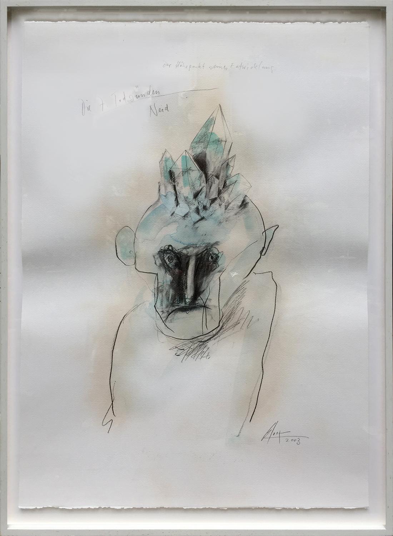Die 7 Todsünden / Neid, 2003, Mischtechnik auf Büttenpapier, ca. 50 x 70, Holzrahmen, Rahmenmass 56 x 78 cm
