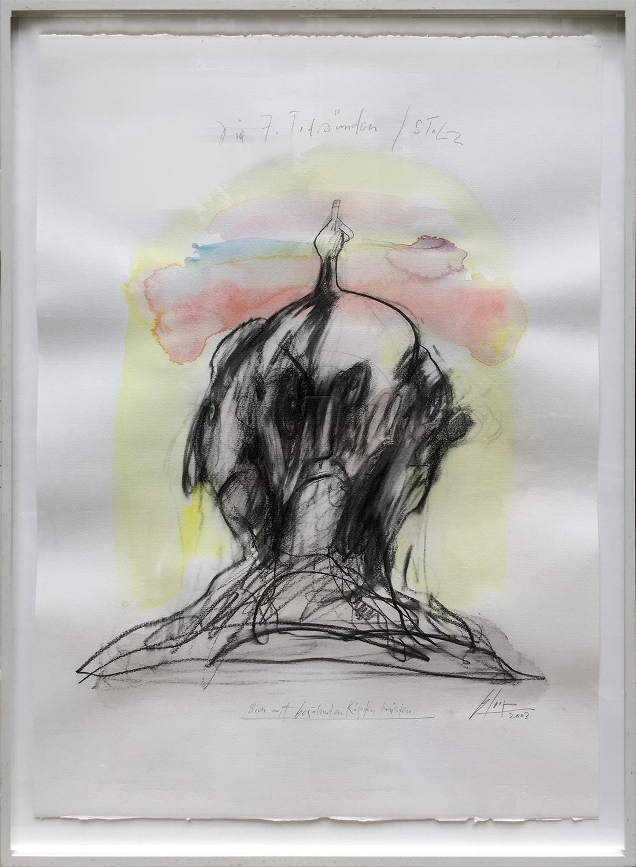 Die 7 Todsünden / Stolz, 2003, Mischtechnik auf Büttenpapier, ca. 50 x 70, Holzrahmen, Rahmenmass 56 x 78 cm