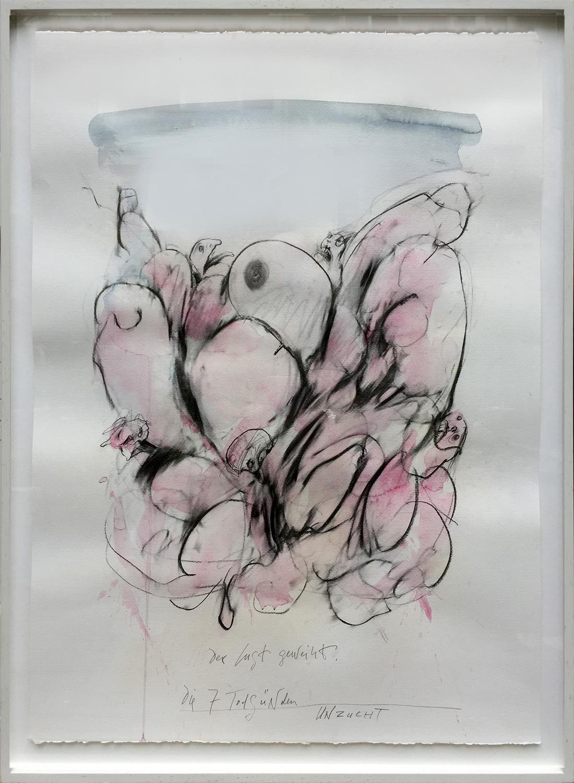 Die 7 Todsünden / Unzucht, 2003, Mischtechnik auf Büttenpapier, ca. 50 x 70, Holzrahmen, Rahmenmass 56 x 78 cm