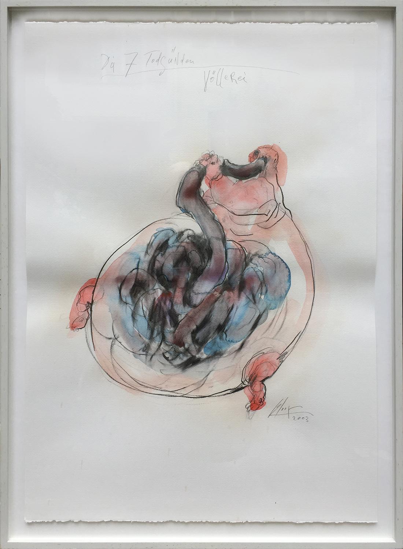 Die 7 Todsünden / Völlerei, 2003, Mischtechnik auf Büttenpapier, ca. 50 x 70, Holzrahmen, Rahmenmass 56 x 78 cm