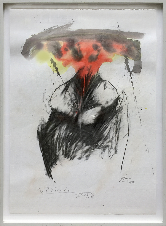 Die 7 Todsünden / Zorn, 2003, Mischtechnik auf Büttenpapier, ca. 50 x 70, Holzrahmen, Rahmenmass 56 x 78 cm