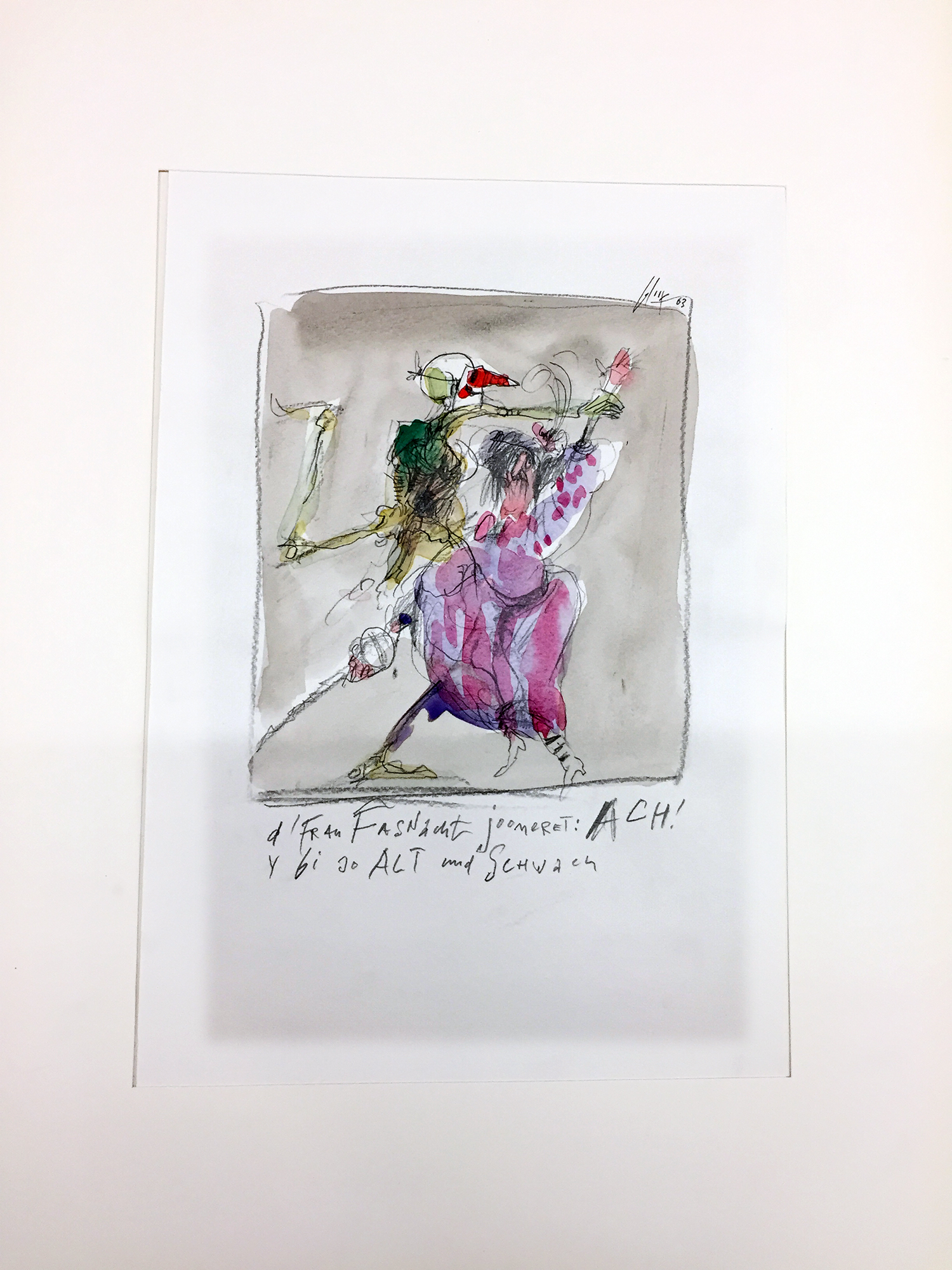 Basler Totentanz, 2003, Mischtechnik auf Zeichenpapier, 20 x 28 cm, ohne Rahmen