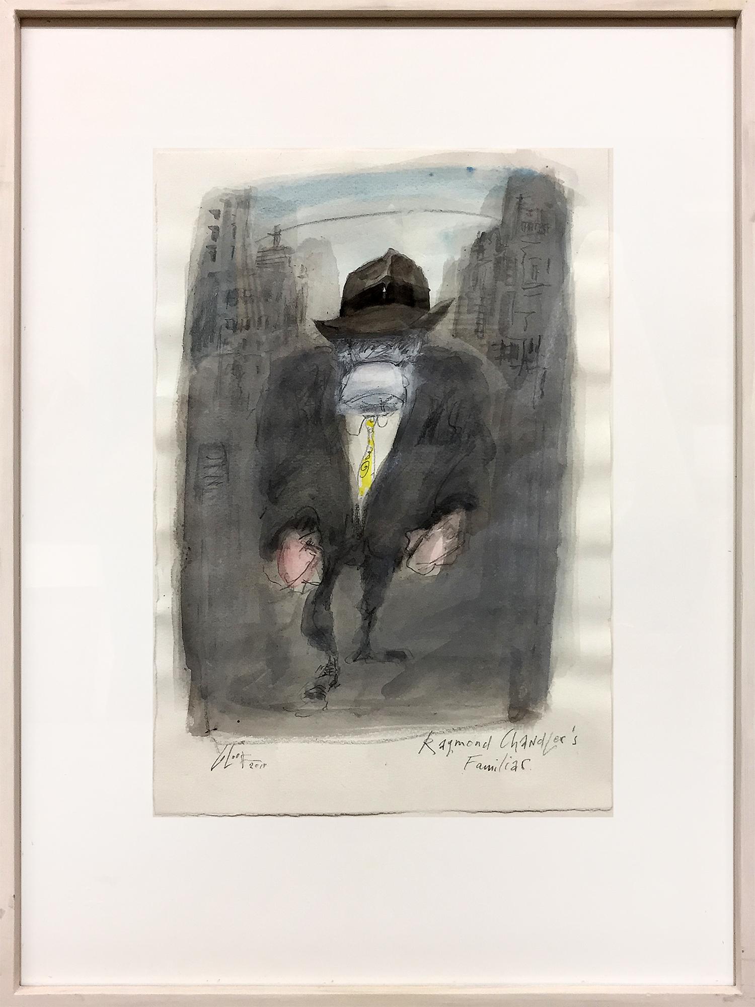 Raymond Chandler Familiar, 2010, Mischtechnik auf Büttenpapier, ca. 22 x 32 cm