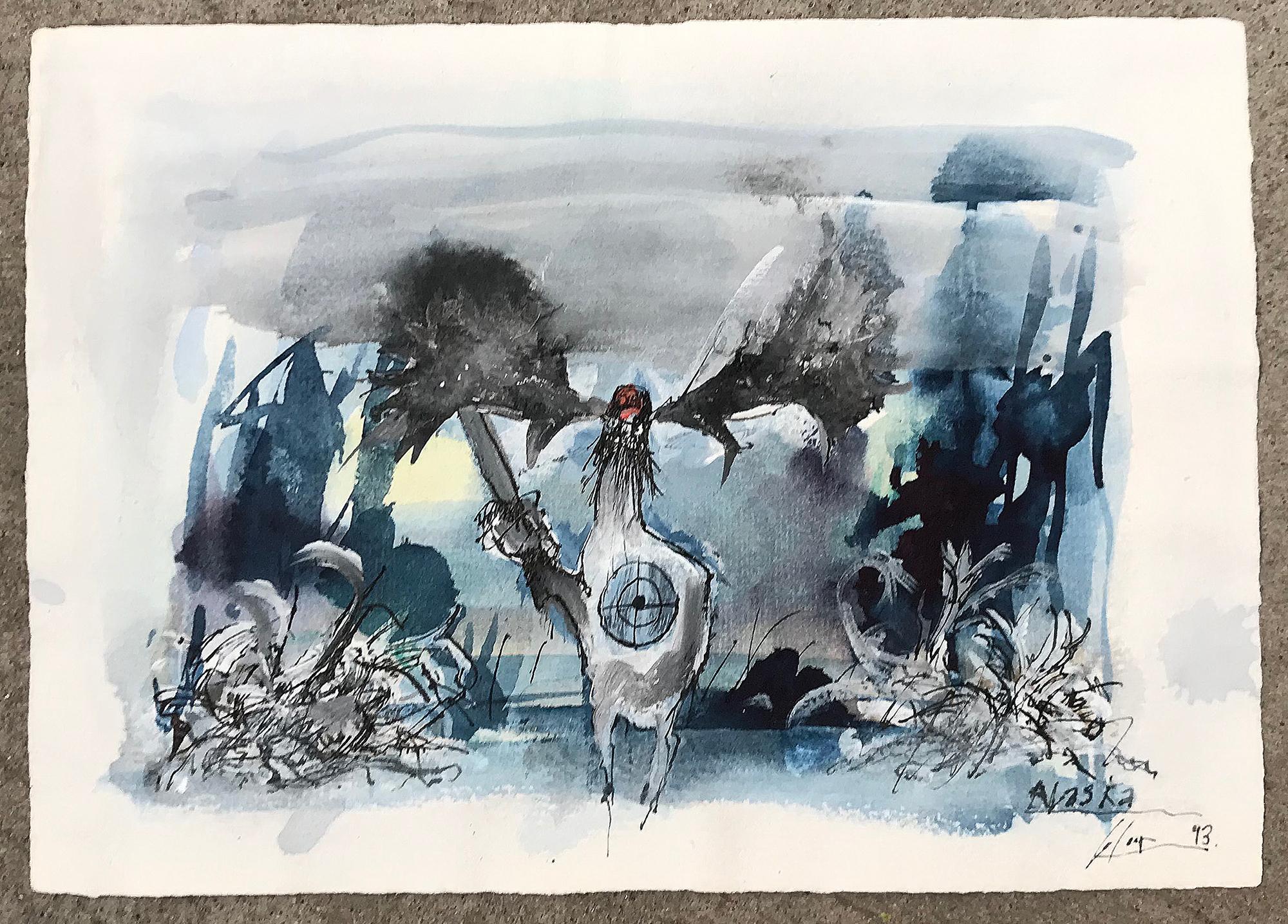 Alaska, 1993, Mischtechnik auf Büttenpapier, 28 x 21 cm, ohne Rahmen