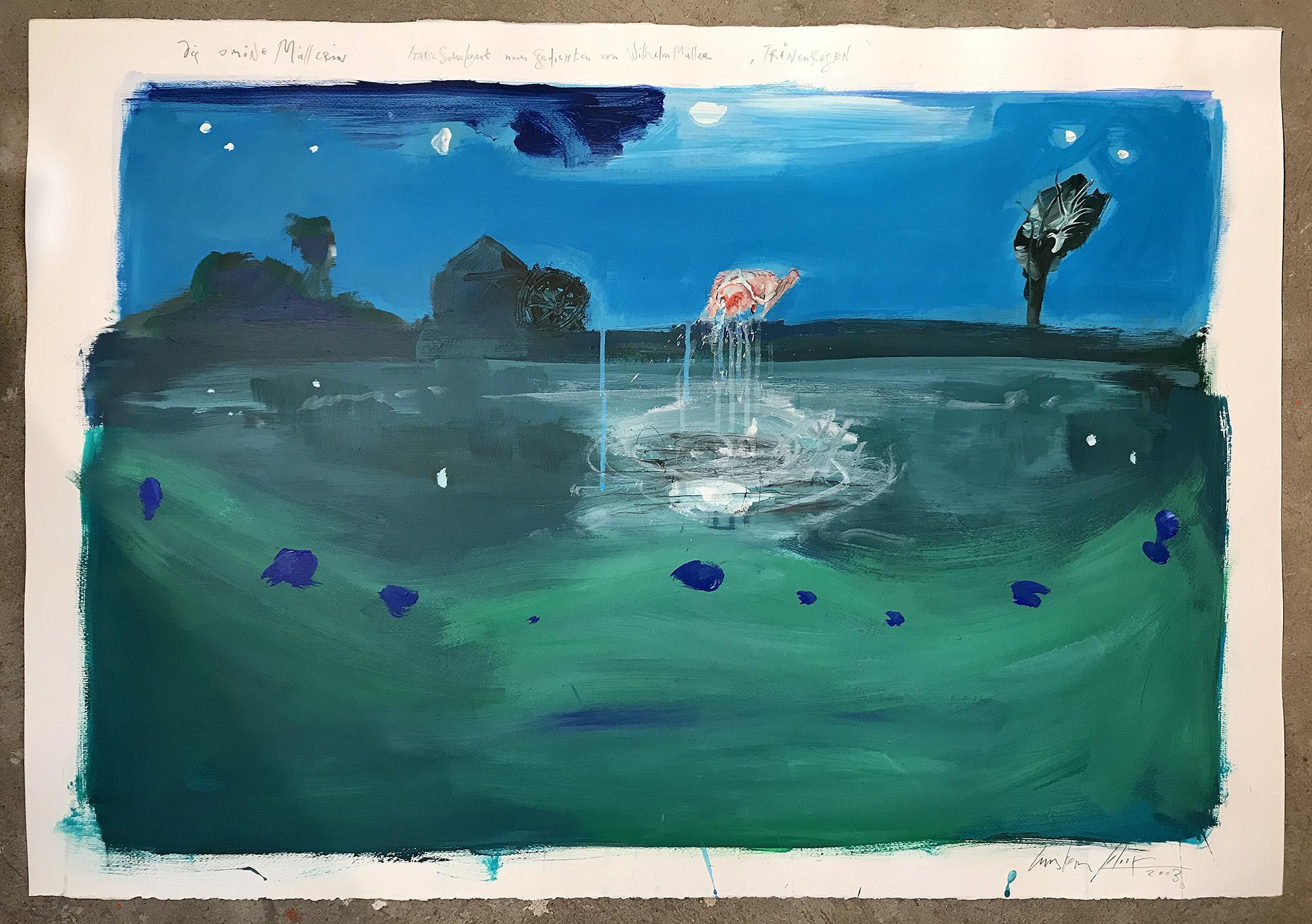 Die schöne Müllerin, 2003, Mischtechnik auf Büttenpapier, 100 x 70 cm, ohne Rahmen