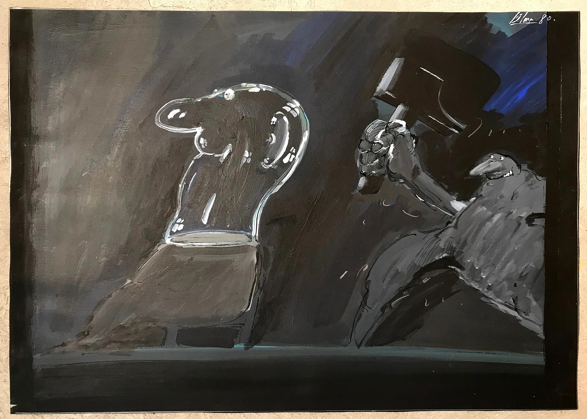 Gläserner Mensch, 1980, Mischtechnik auf Zeichenpapier, 70 x 50 cm, ohne Rahmen