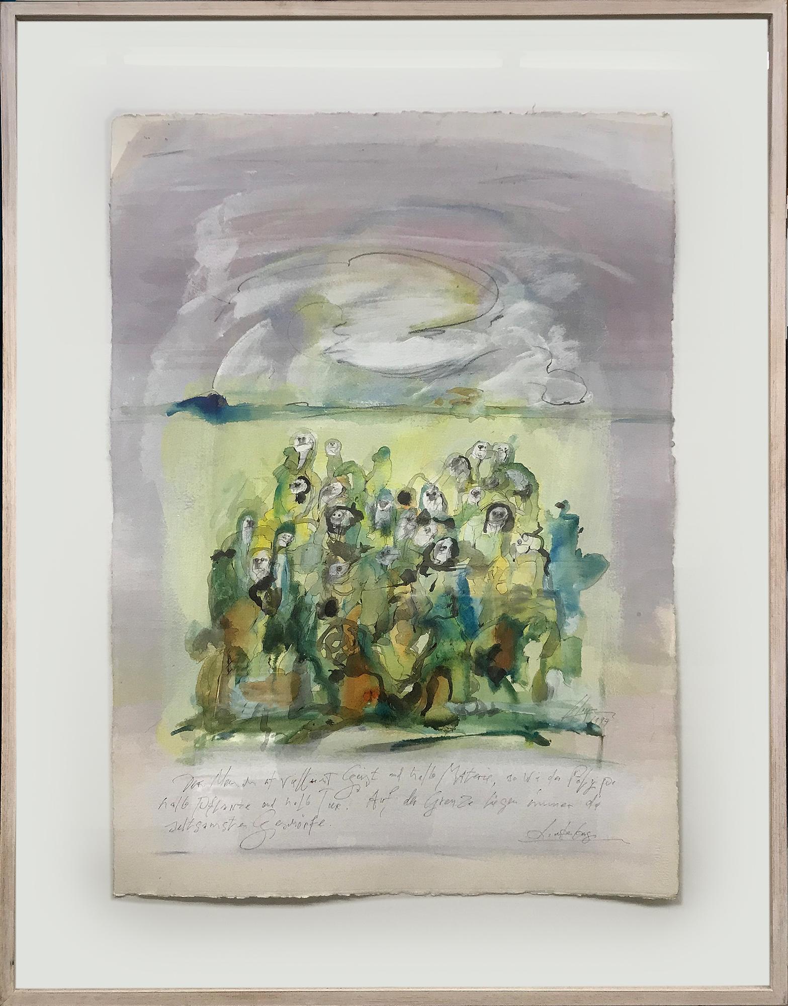 Lichtenberg, 1994, Mischtechnik auf Büttenpapier, 74 x 105 cm, Rahmenmass 100 x 134 cm