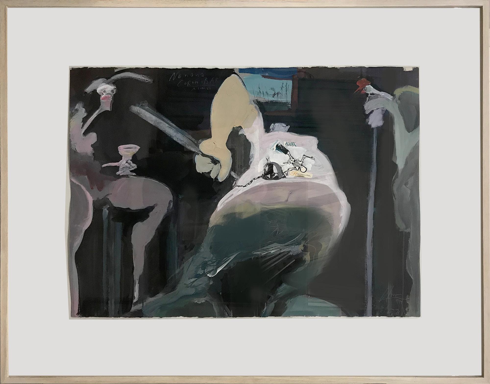 Pay Hommage to Norman, 1999, Mischtechnik auf Büttenpapier, 100 x 70 cm, Rahmenmass 138 x 105 cm