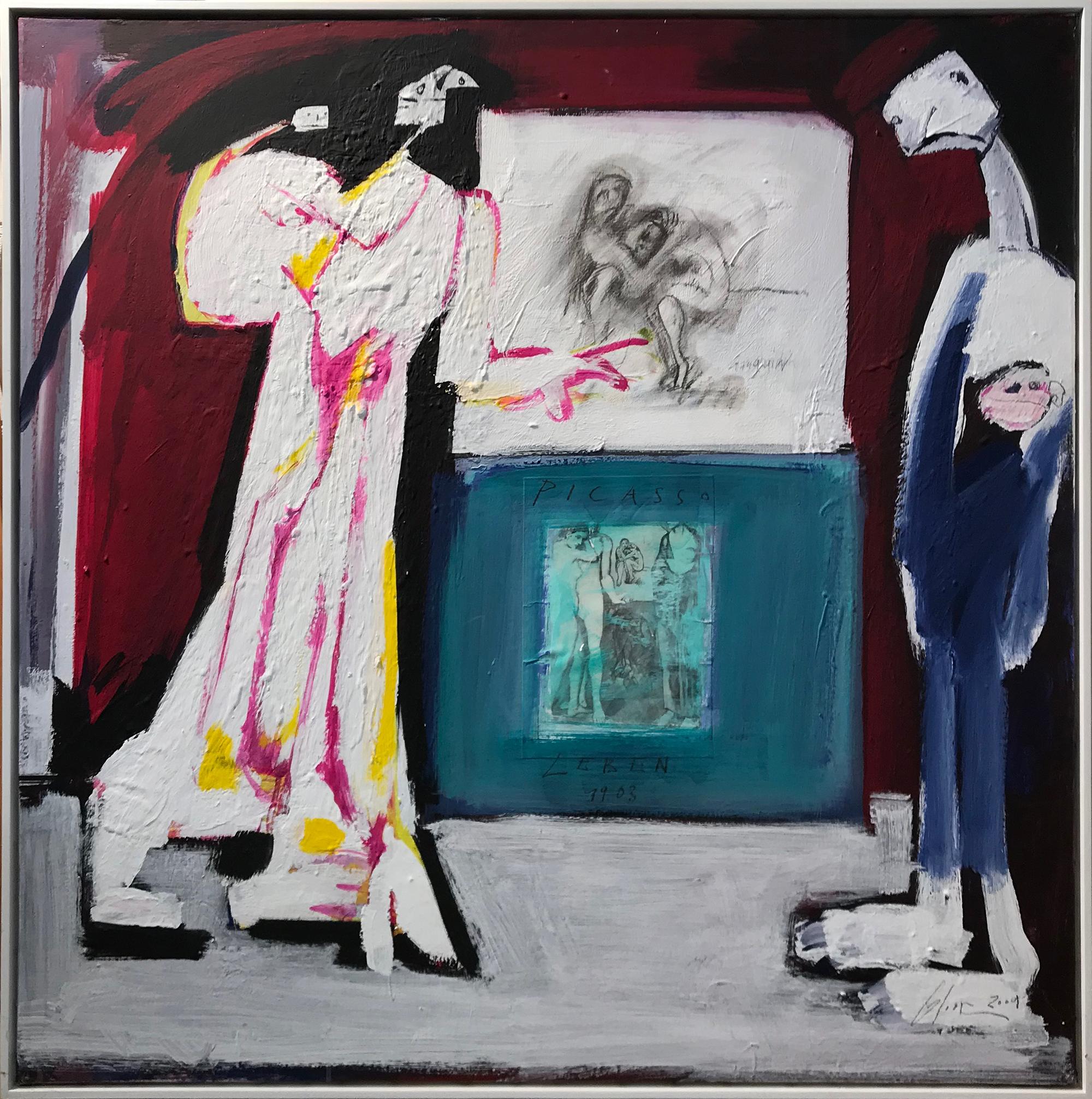 Picasso, 2004, Mischtechnik auf Leinwand, 100 x 100 cm, Schattenfugenrahmen Holz, weiss