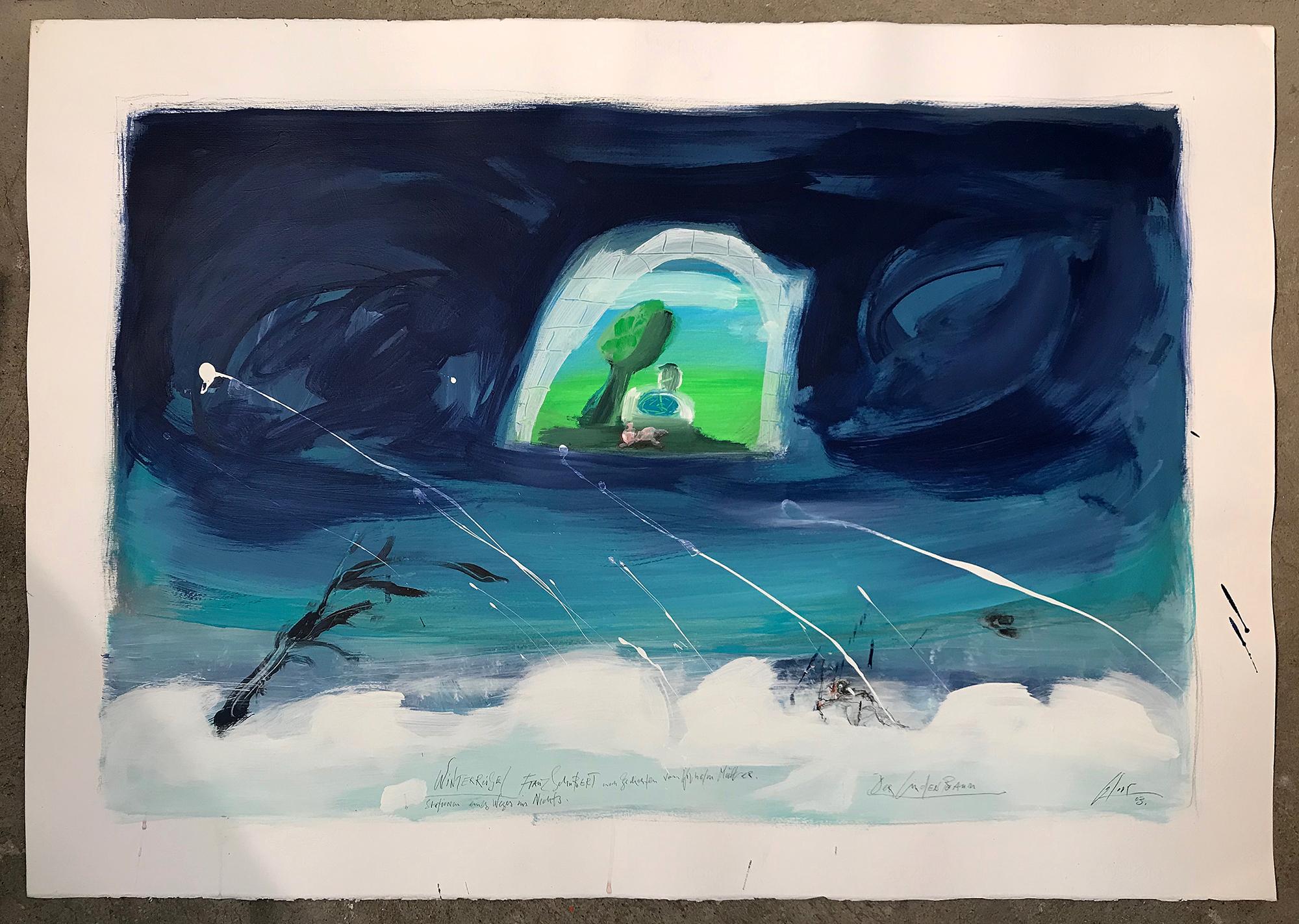 Winterreise, 2003, Mischtechnik auf Büttenpapier, 100 x 70 cm, ohne Rahmen