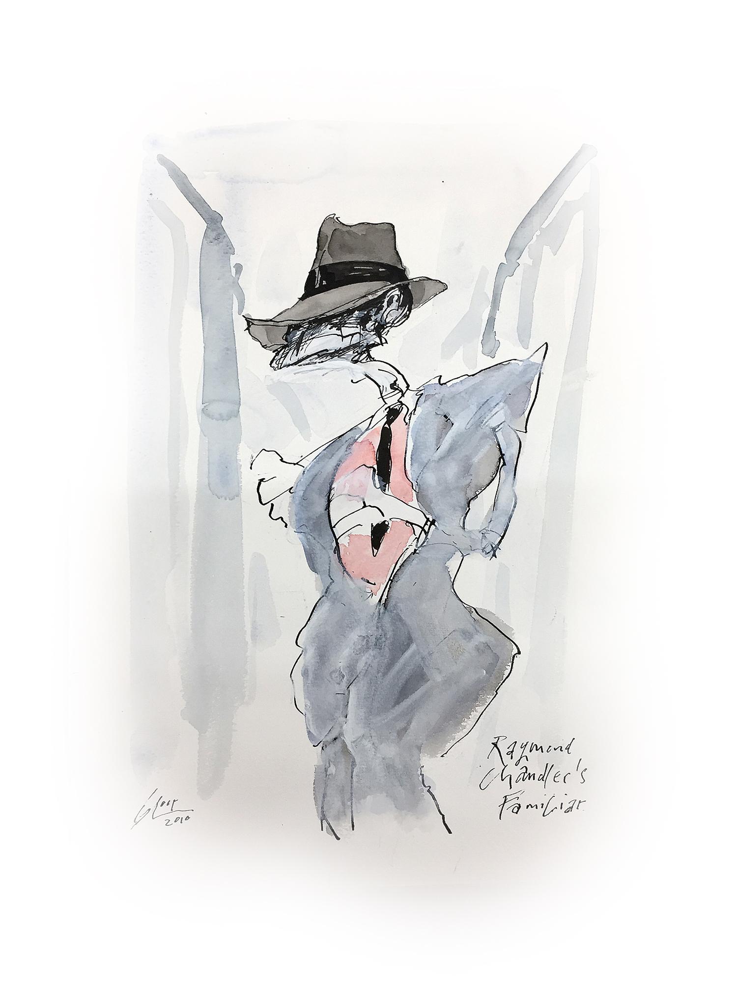 Raymond Chandler Familiar, 2010, Mischtechnik auf Zeichenpapier, ca. 20 x 28 cm