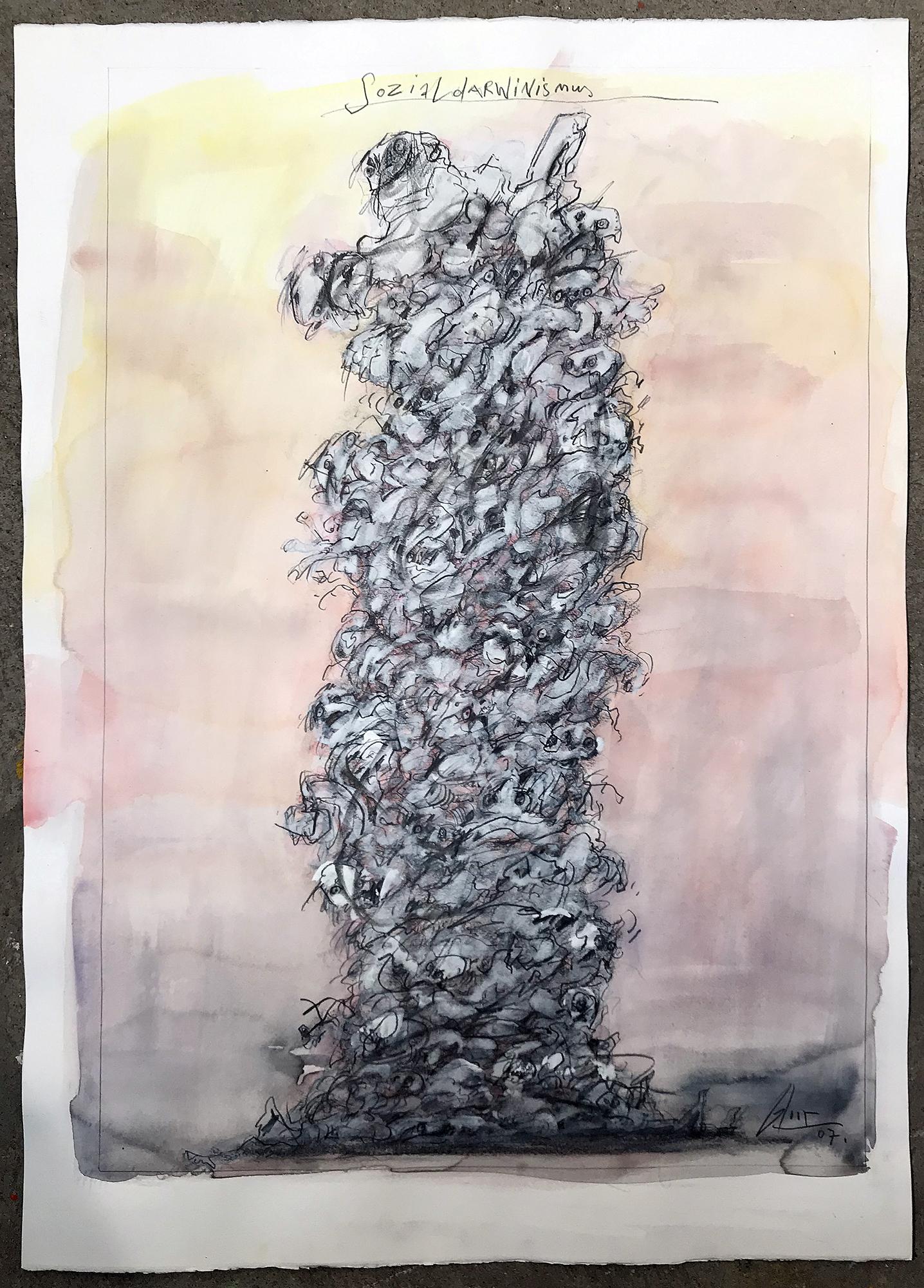 Sozialdarwinismus, 2007, Mischtechnik auf Büttenpapier, ca. 50 x 70, ohne Rahmen