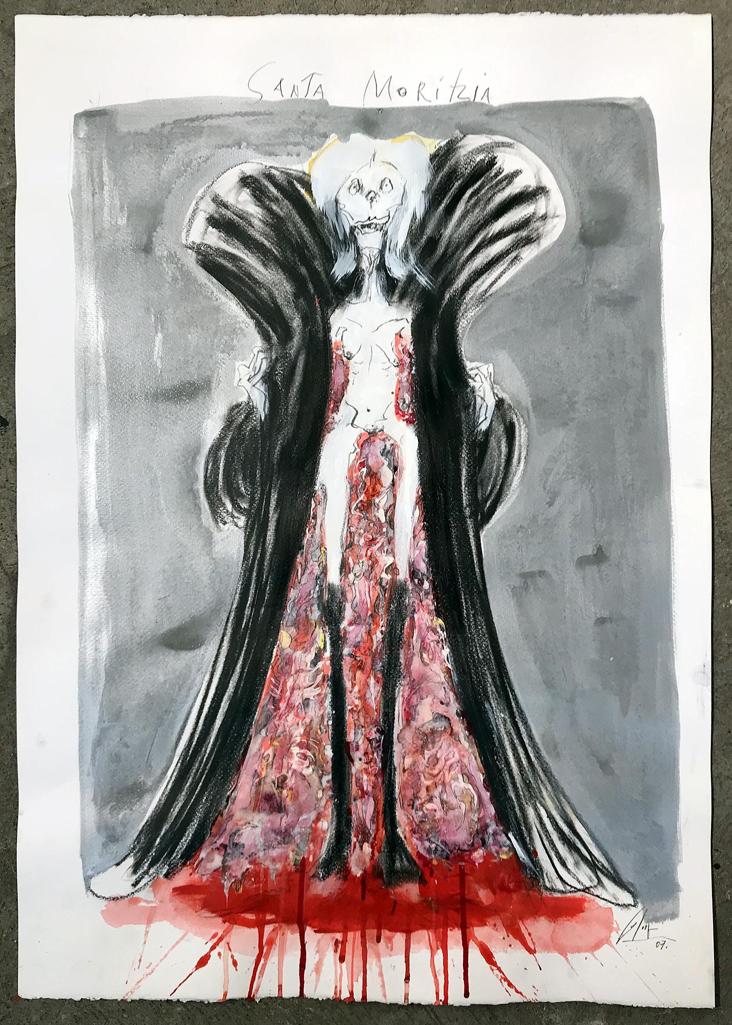 Santa Moritzia, 2007, Mischtechnik auf Büttenpapier, ca. 50 x 70, ohne Rahmen