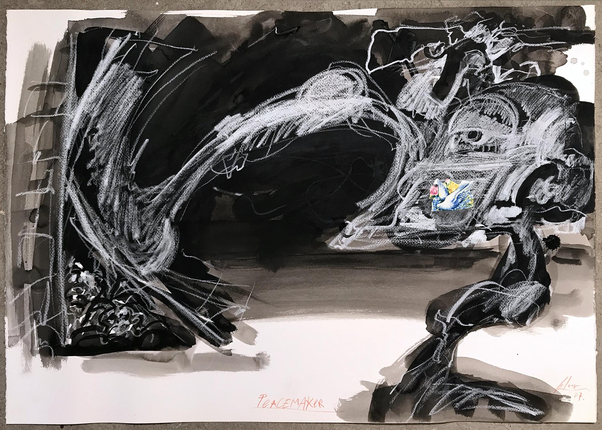 Peacemaker, 2007, Mischtechnik auf Büttenpapier, ca. 70 x 50, ohne Rahmen