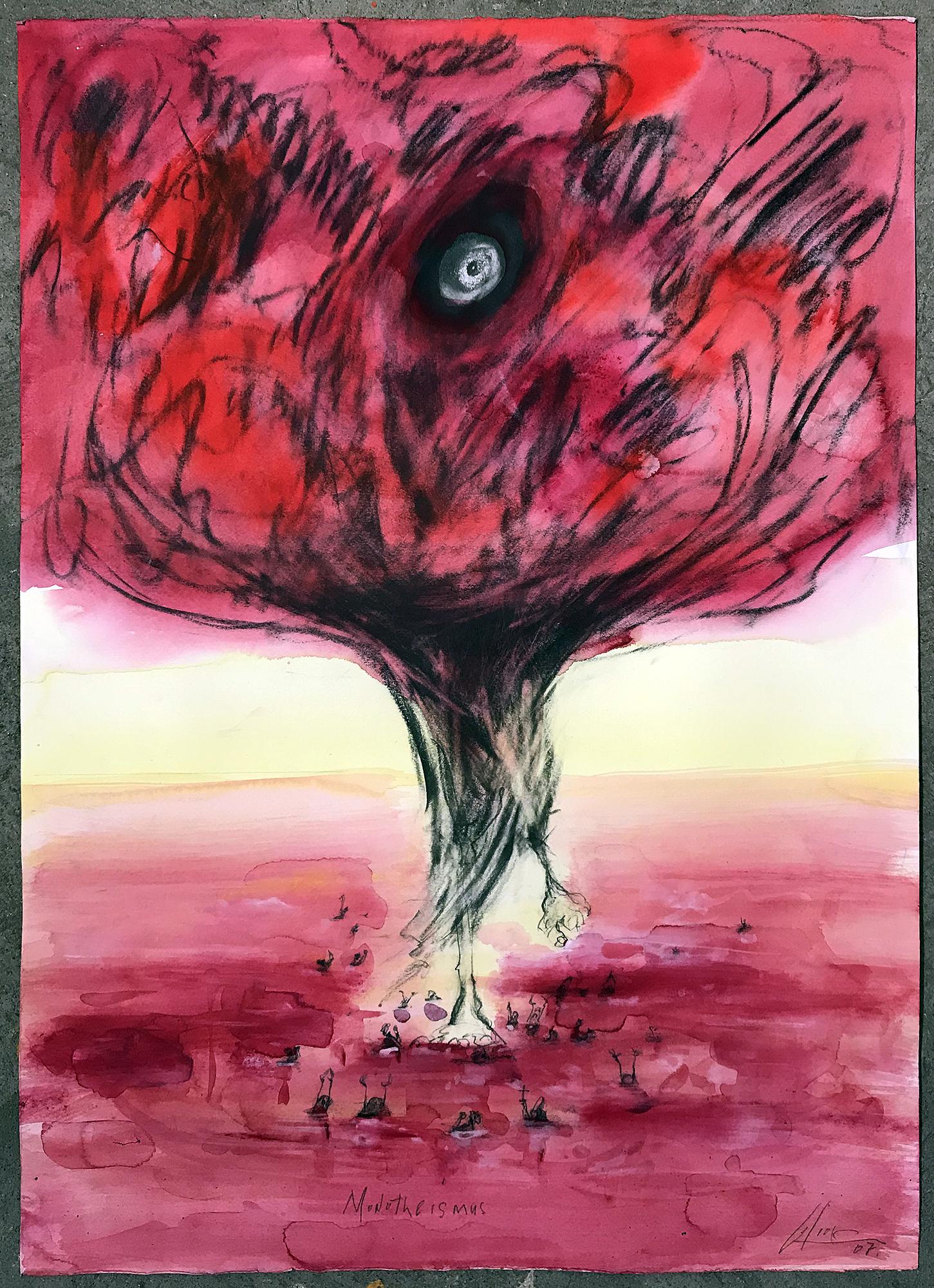 Monotheismus, 2007, Mischtechnik auf Büttenpapier, ca. 50 x 70, ohne Rahmen