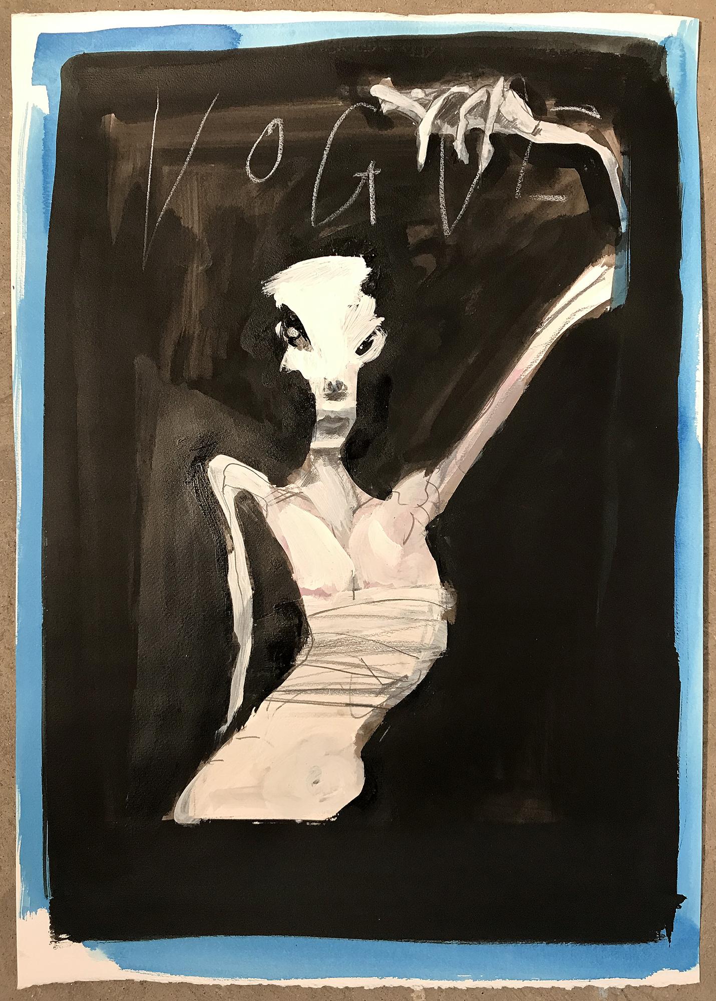 Vogue 2, 2003, Mischtechnik auf Büttenpapier, 50 x 70 cm, ohne Rahmen