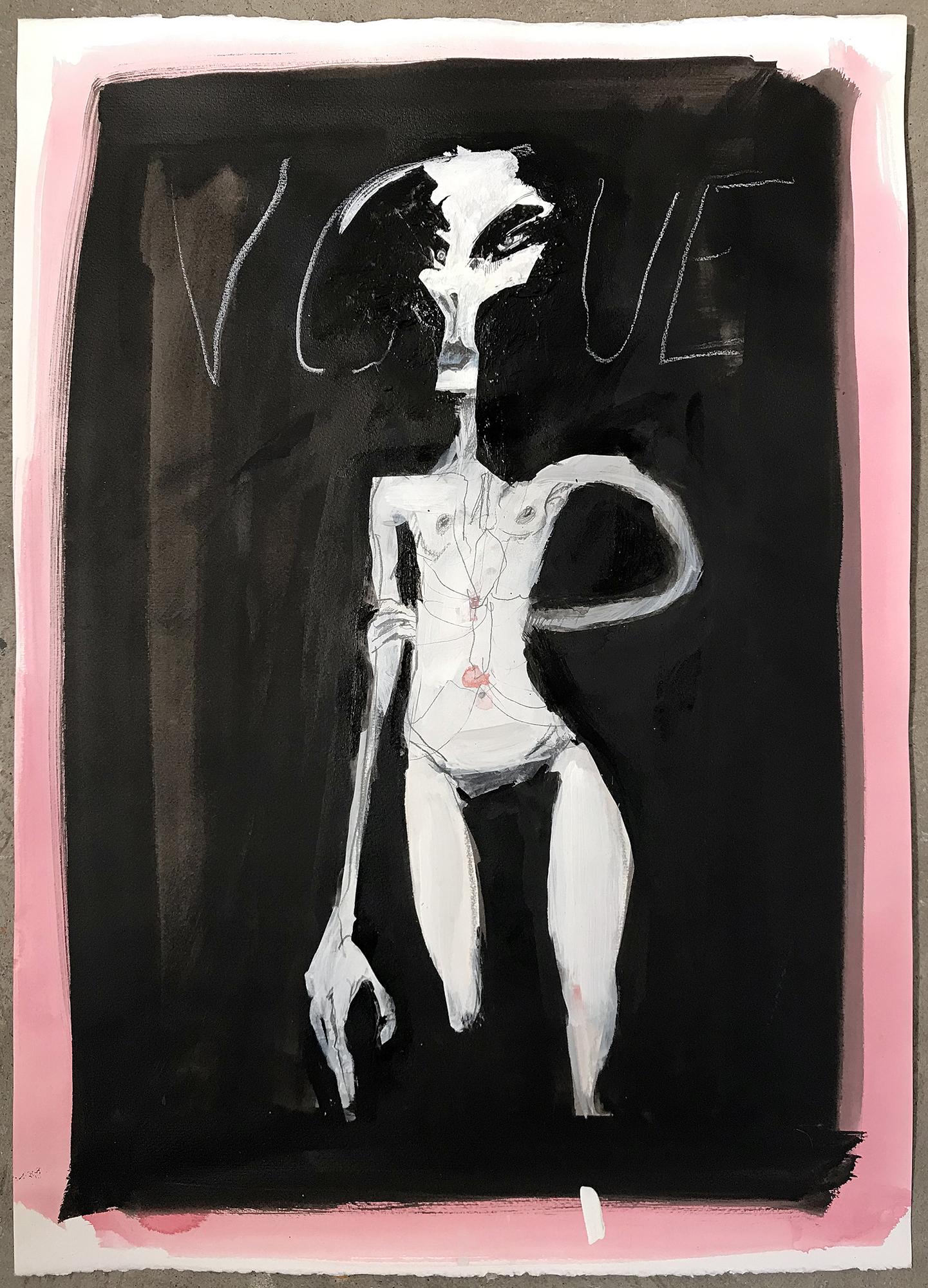 Vogue 3, 2003, Mischtechnik auf Büttenpapier, 50 x 70 cm, ohne Rahmen