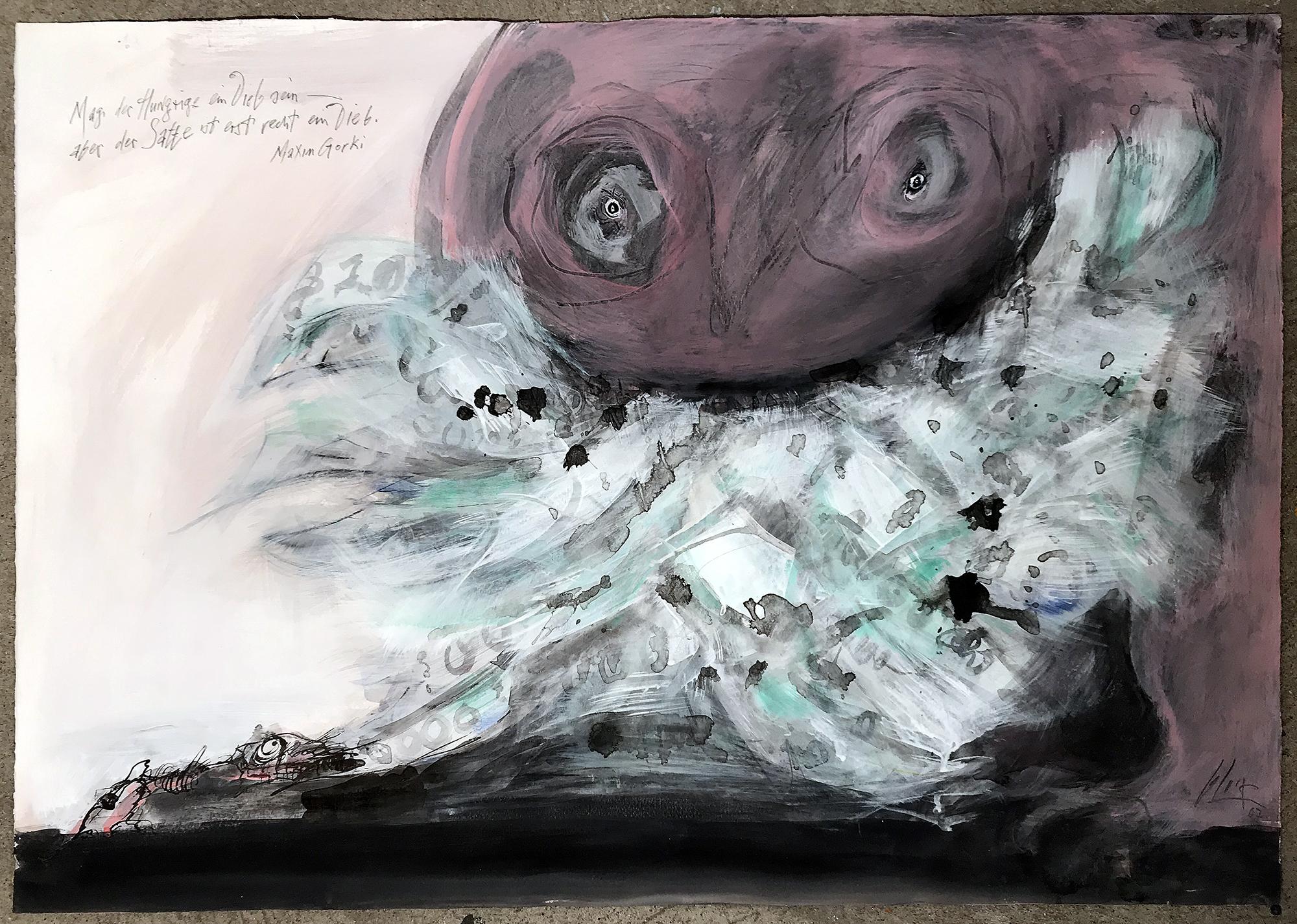 Mag der Hunger der Dieb sein …, 2007, Mischtechnik auf Büttenpapier, ca. 70 x 50, ohne Rahmen
