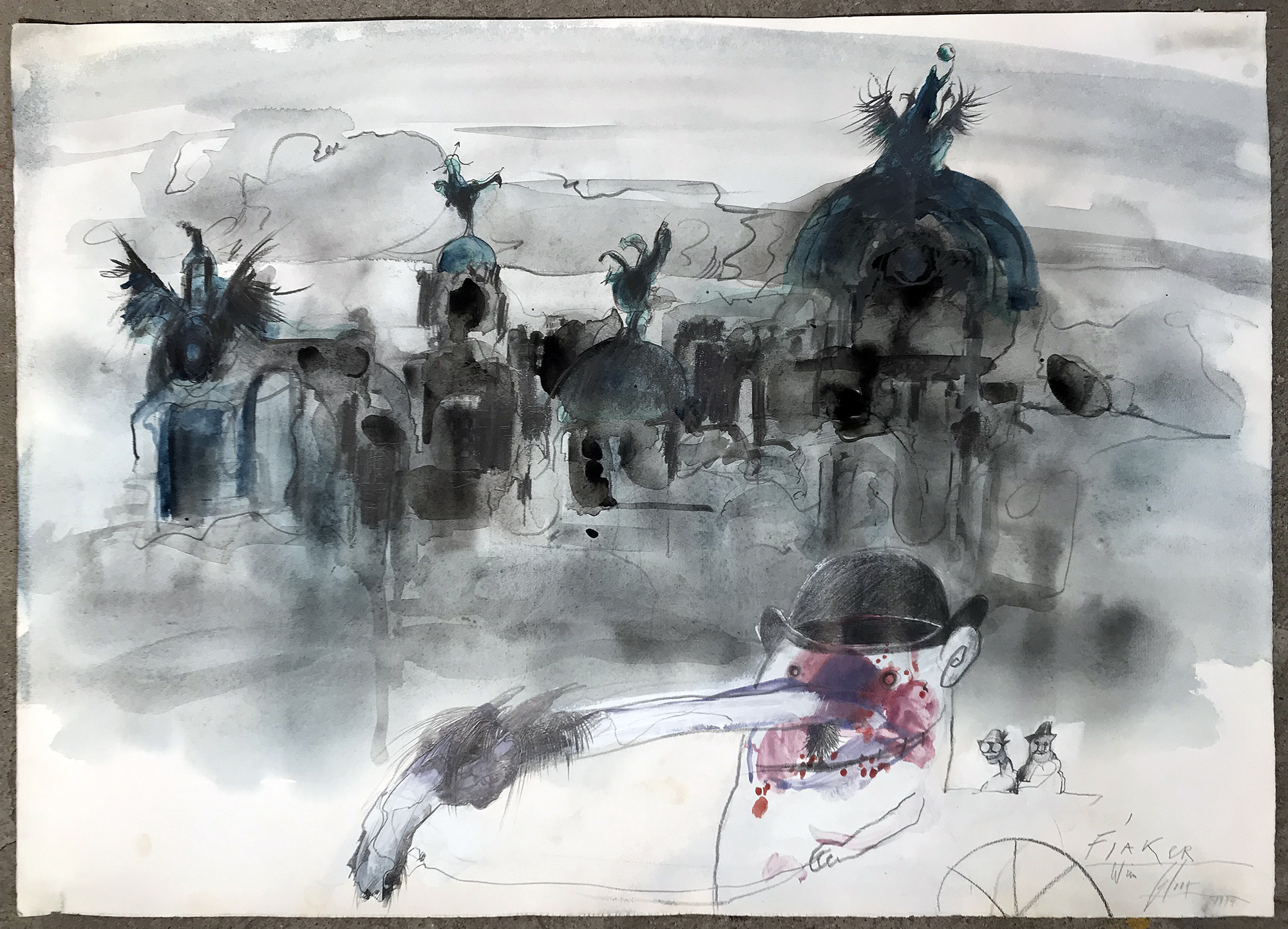 Fiaker, 1979, Mischtechnik auf Büttenpapier, 78 x 52 cm, ohne Rahmen