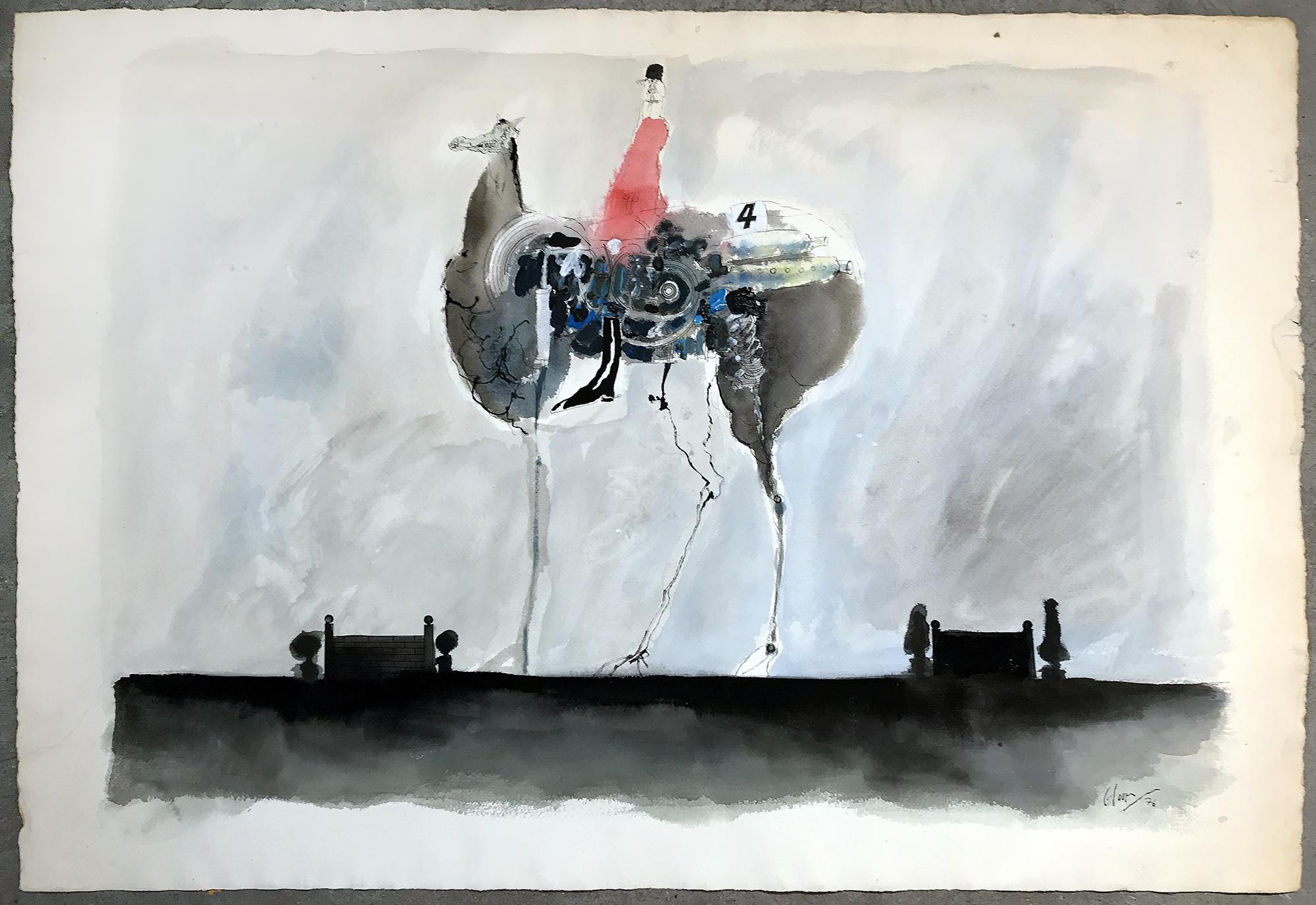 Ohne Titel, 1976, Mischtechnik auf Büttenpapier, 100 x 70 cm, ohne Rahmen
