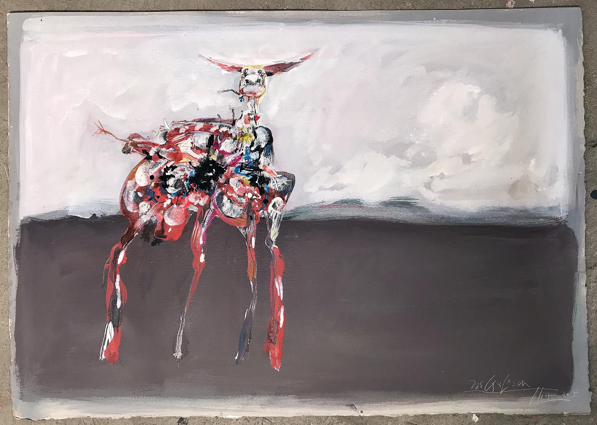Das Gulasch, 2005, Mischtechnik auf Büttenpapier, 100 x 70 cm, ohne Rahmen