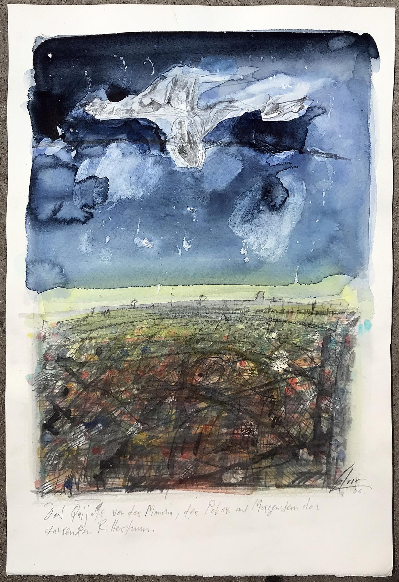Don Quichot, von der Mancha, 2006, Mischtechnik auf Büttenpapier, 25 x 36 cm, ohne Rahmen