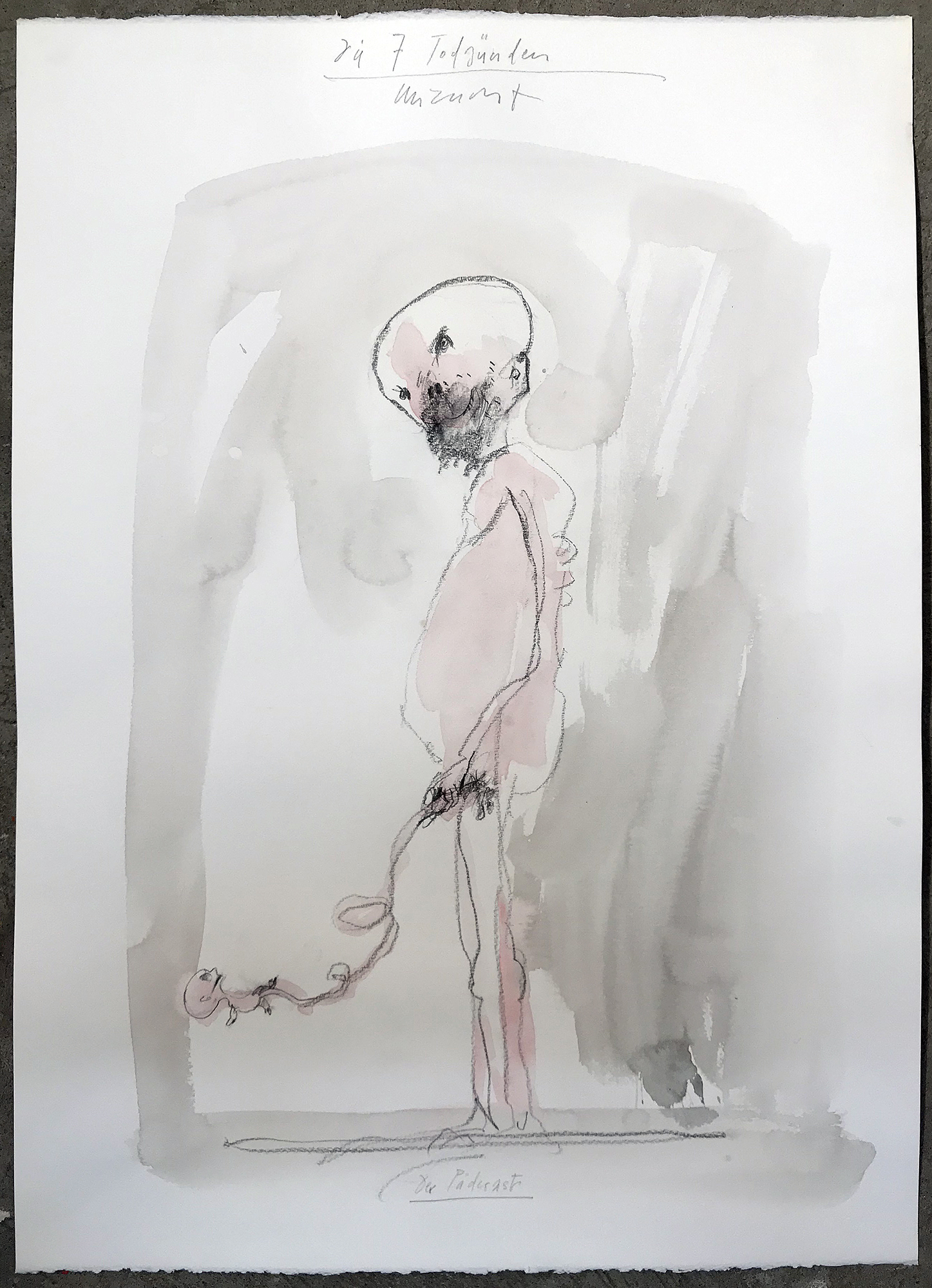 Die 7 Todsünden / Unzucht / Entwurf, 2003, Mischtechnik auf Büttenpapier, ca. 50 x 70, ohne Rahmen